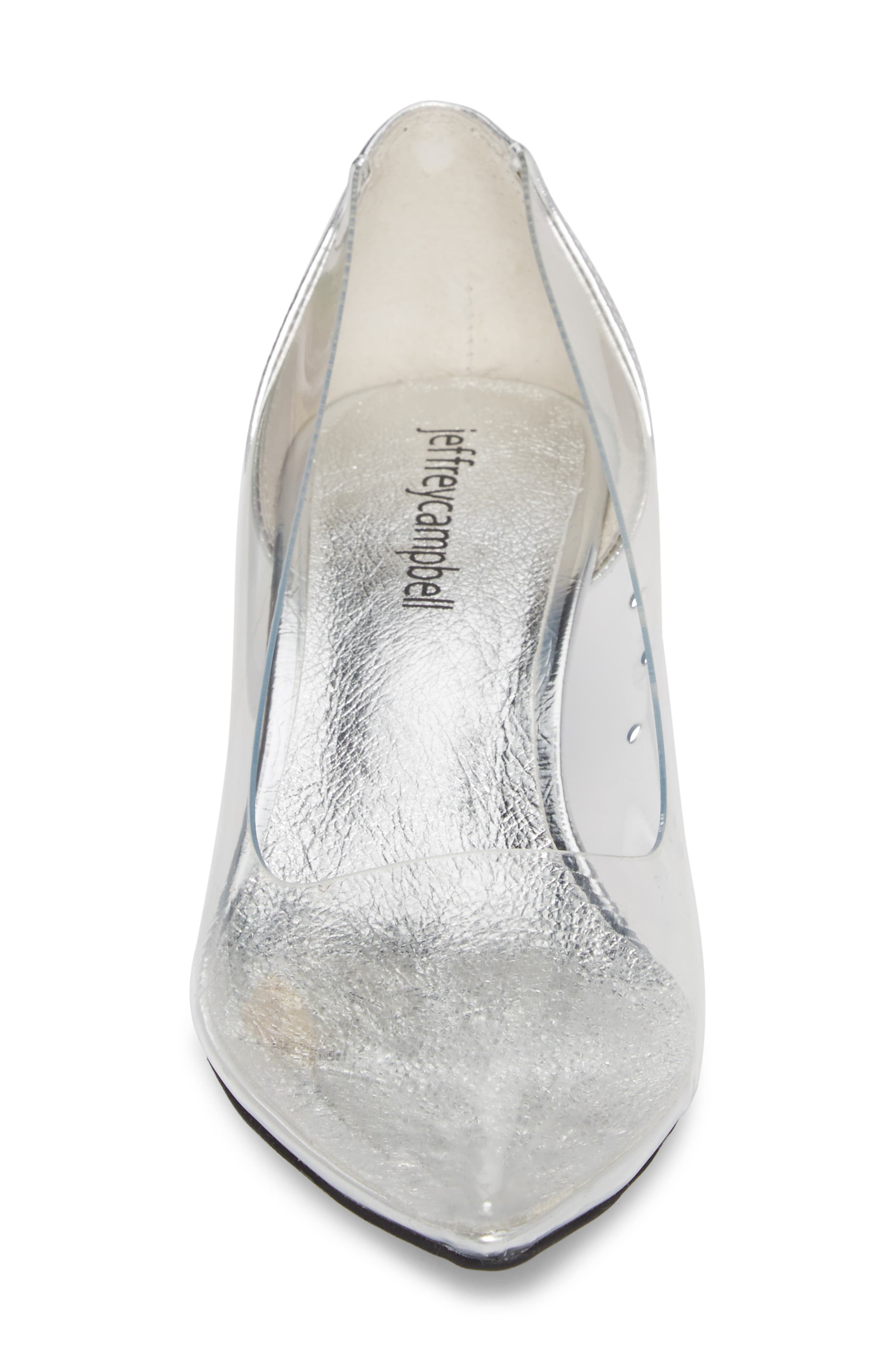 Gracienne Transparent Pump,                             Alternate thumbnail 4, color,                             CLEAR/ SILVER LEATHER