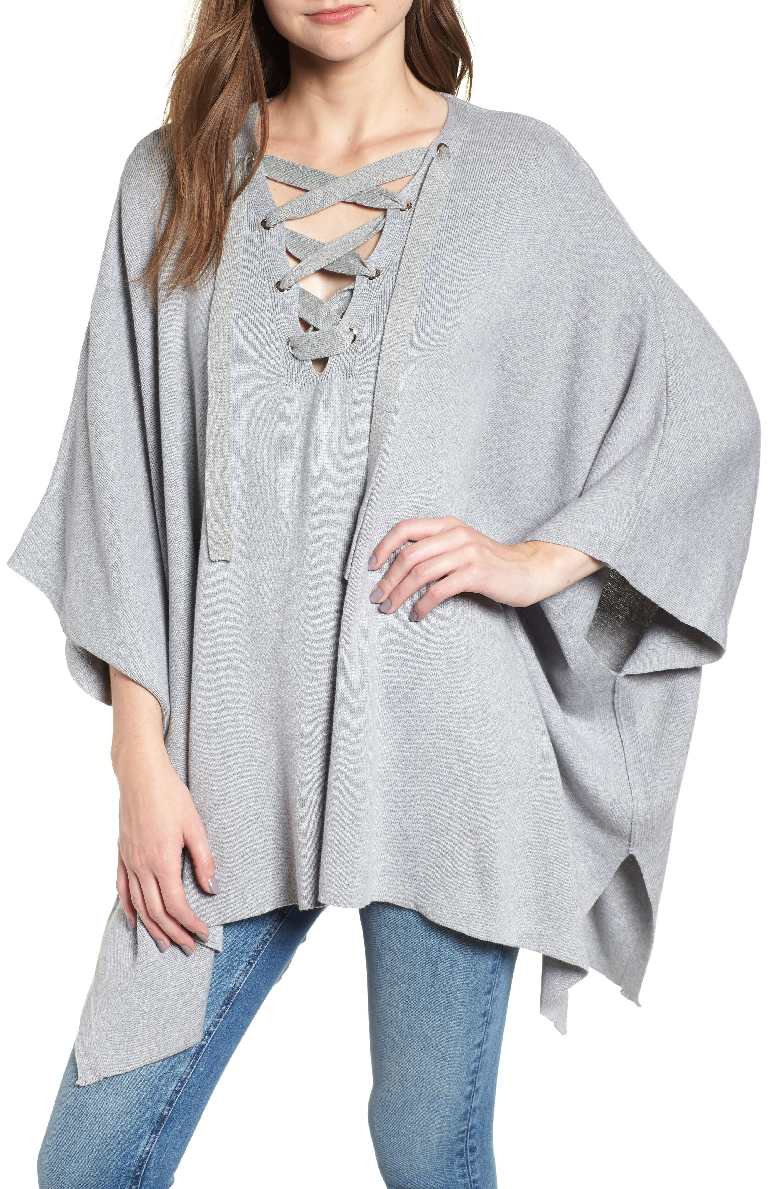 Bishop + Young Harper Lace-Up Poncho,                             Main thumbnail 1, color,                             035