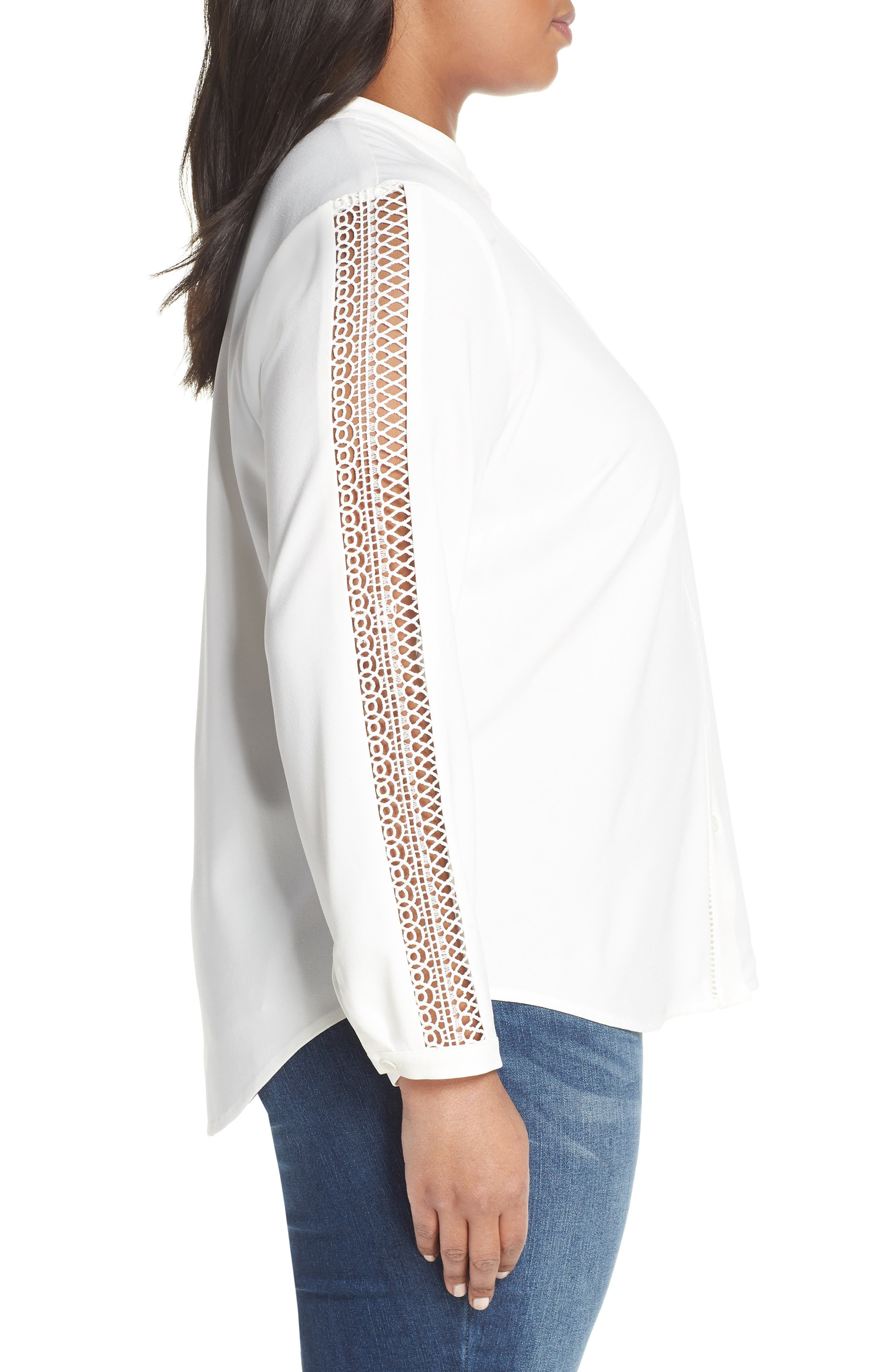 Cutout Sleeve Button Down Shirt,                             Alternate thumbnail 3, color,                             PEARL IVORY