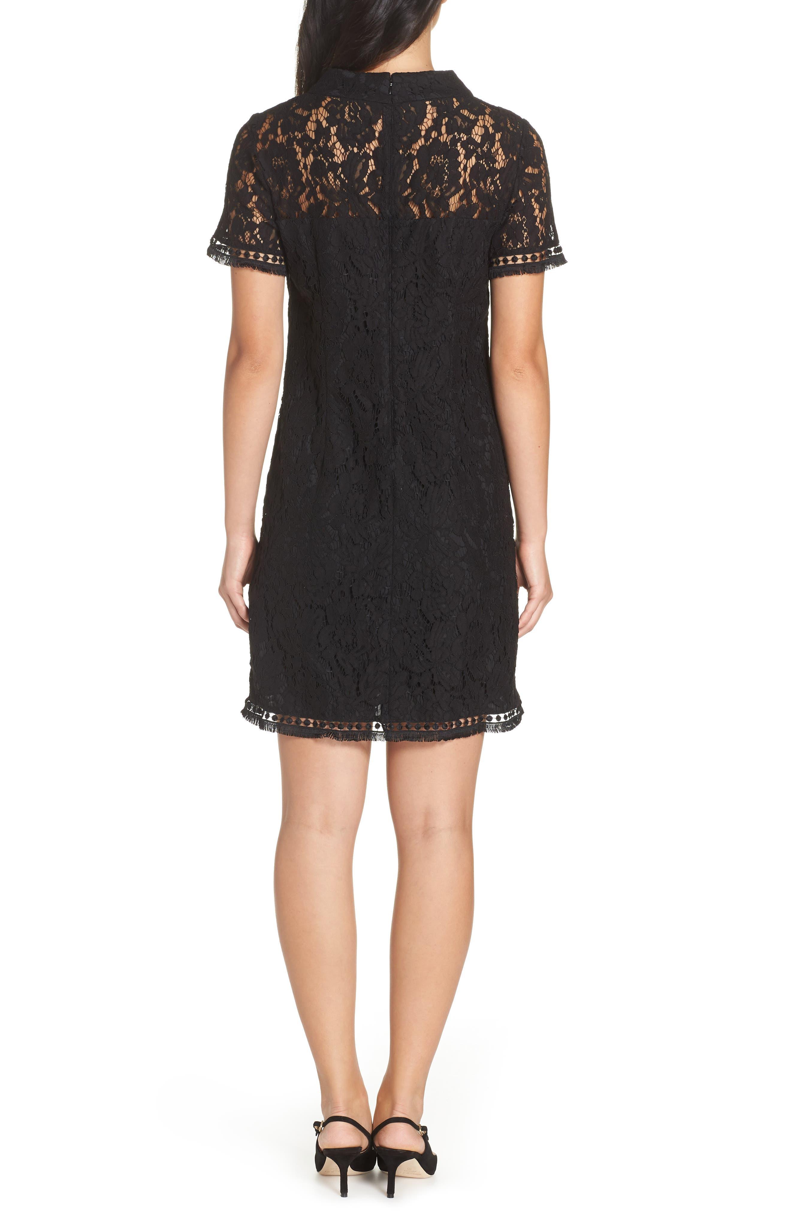 High Neck Lace Shift Dress,                             Alternate thumbnail 2, color,                             BLACK