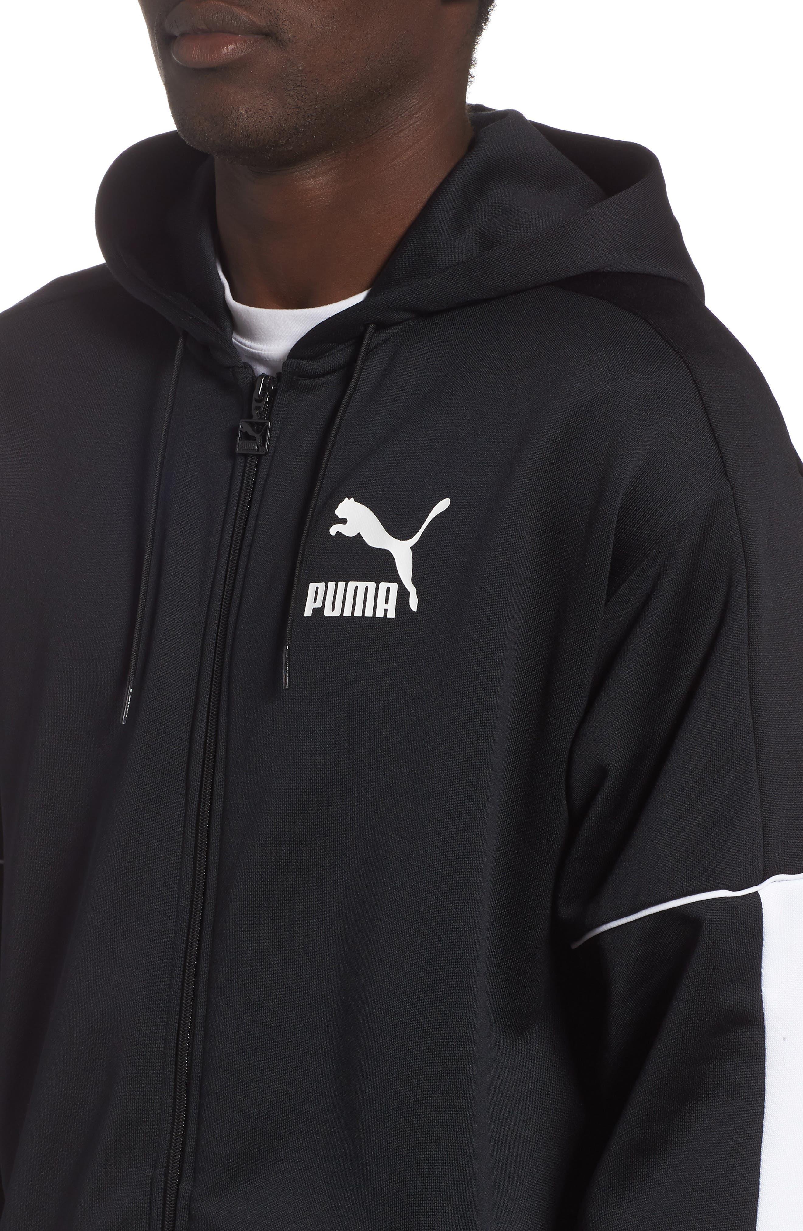 Retro Zip Hoodie Jacket,                             Alternate thumbnail 4, color,                             PUMA BLACK