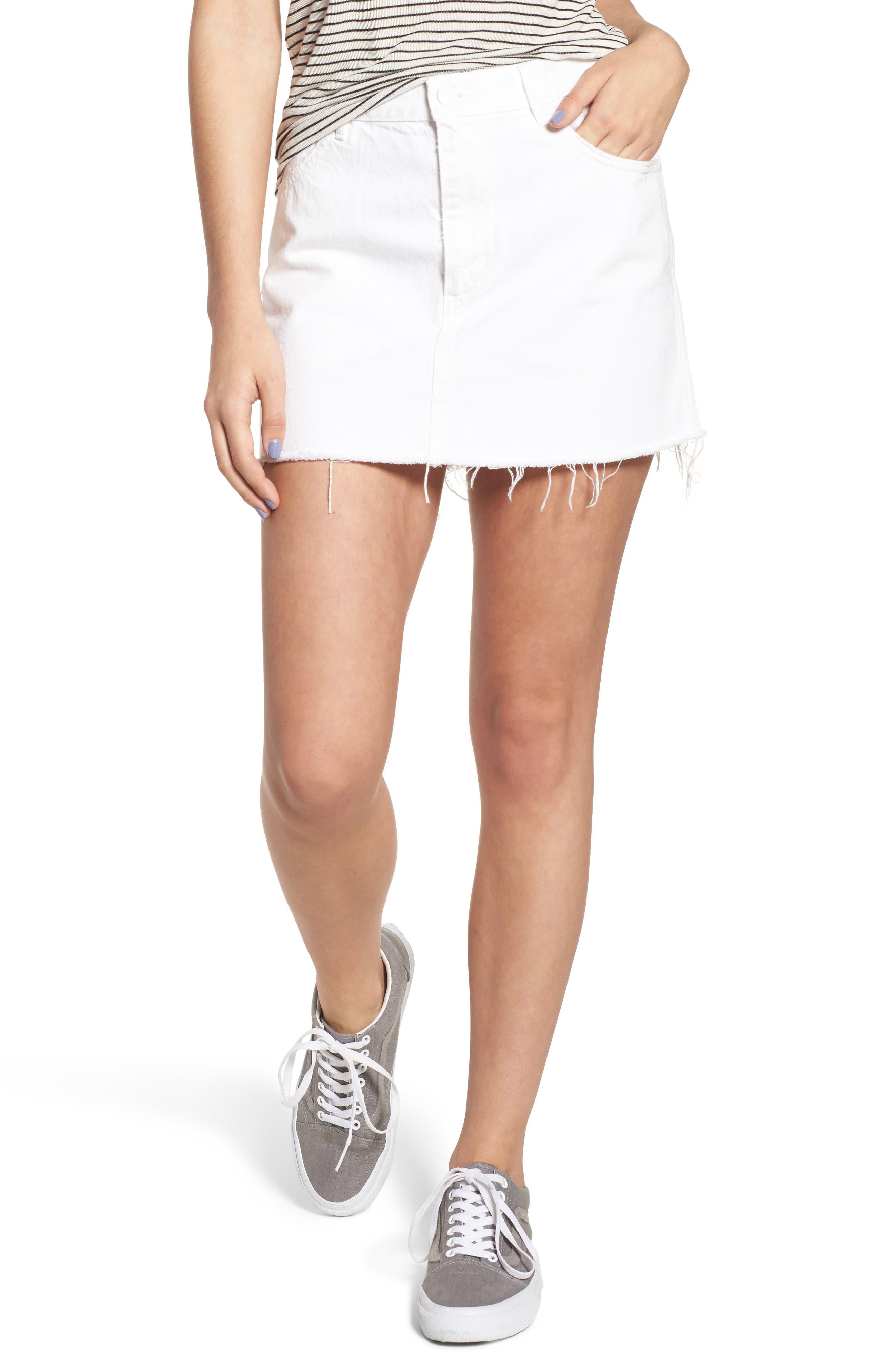 Fray Hem Denim Skirt,                         Main,                         color, 100