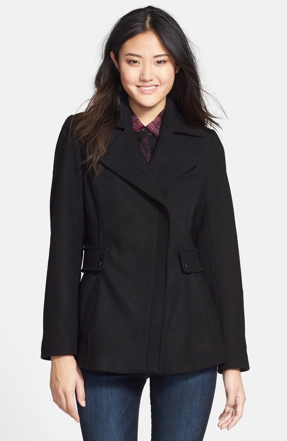 Asymmetrical Wool Blend Coat,                             Main thumbnail 1, color,                             001