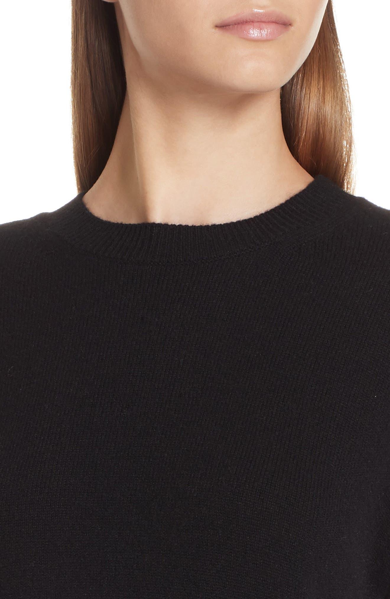 Asymmetrical Cashmere Sweater,                             Alternate thumbnail 4, color,                             BLACK