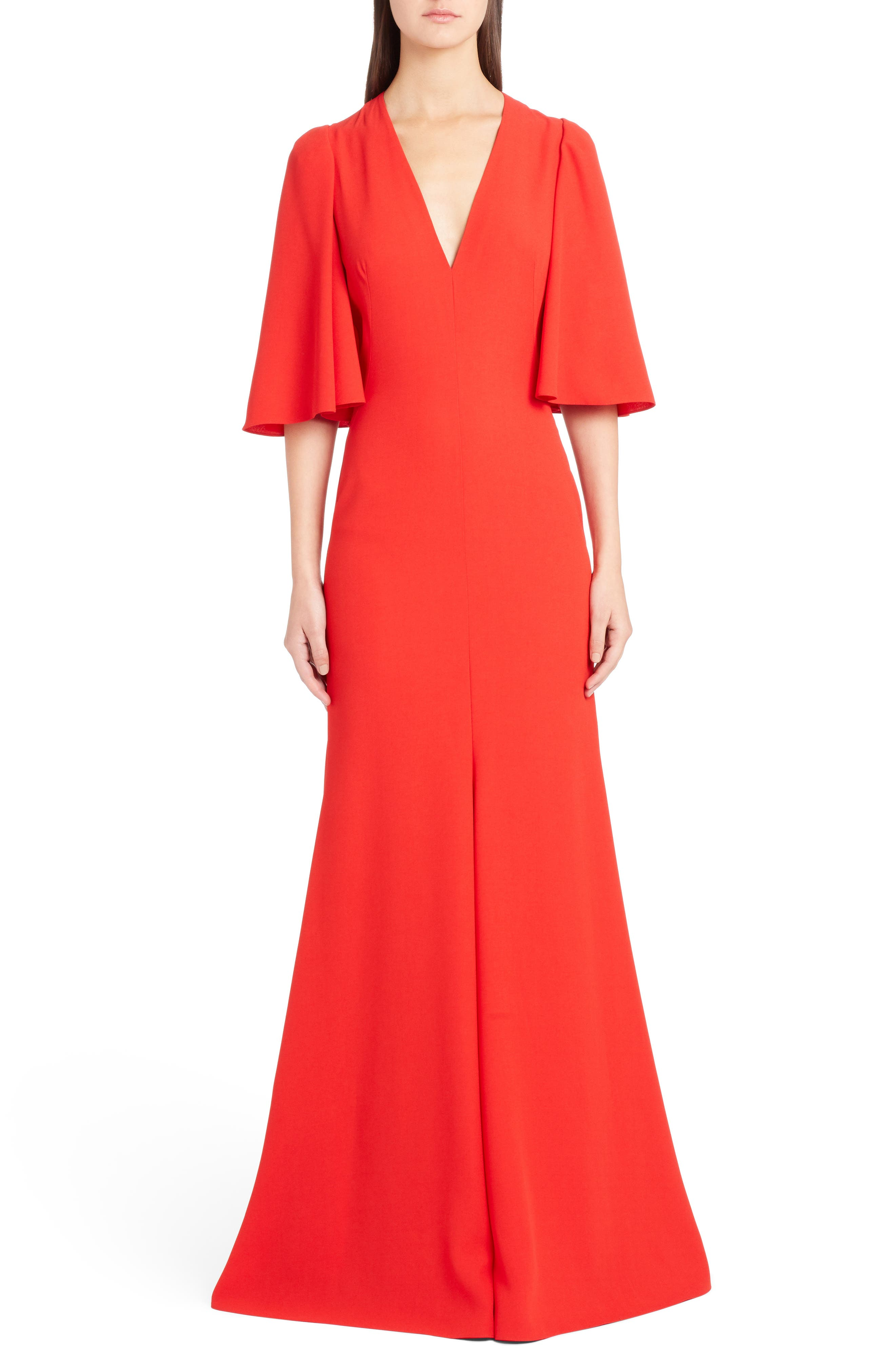 Cape Sleeve Satin Crepe Gown,                         Main,                         color, 624
