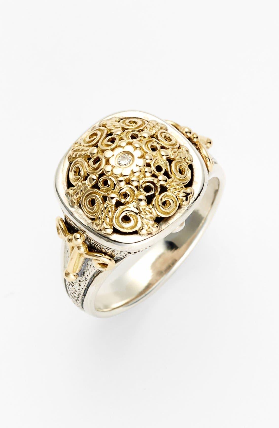 'Classics' Two-Tone Diamond Ring,                             Main thumbnail 1, color,                             SILVER/ GOLD