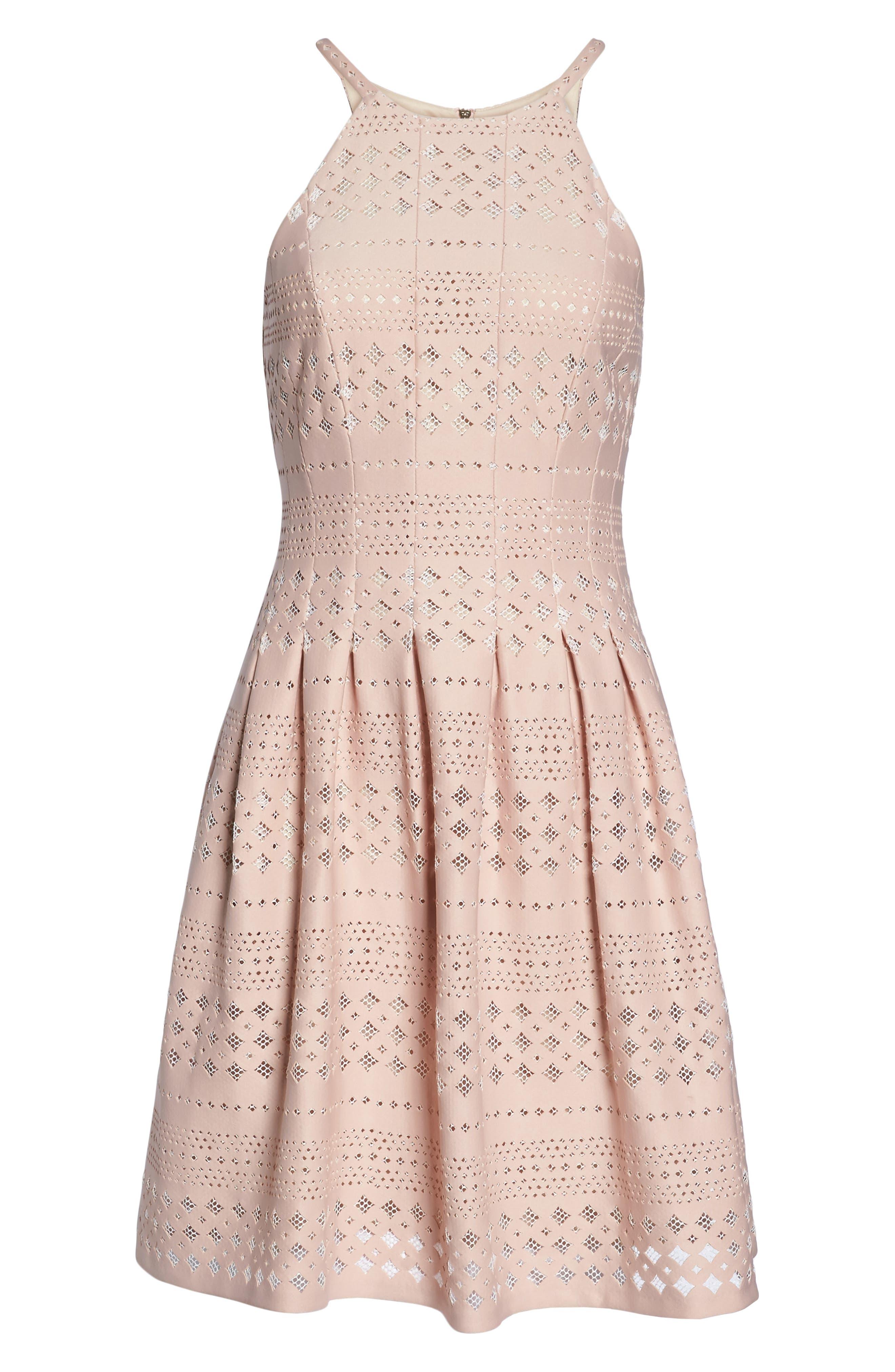Laser Cut Fit & Flare Halter Dress,                             Alternate thumbnail 17, color,