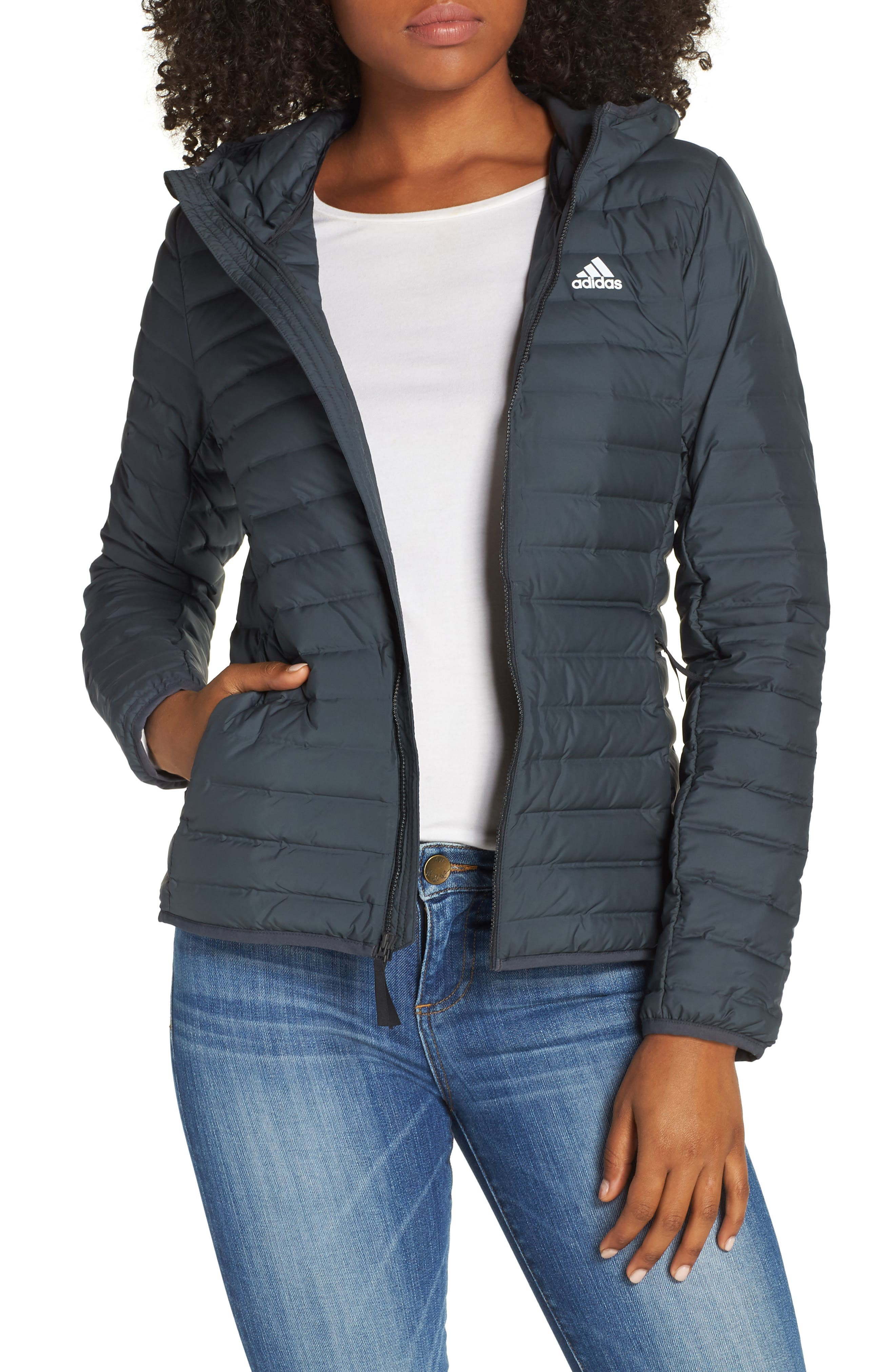 ADIDAS Varilite Water Repellent Hooded 600-Fill-Power Down Jacket, Main, color, 020