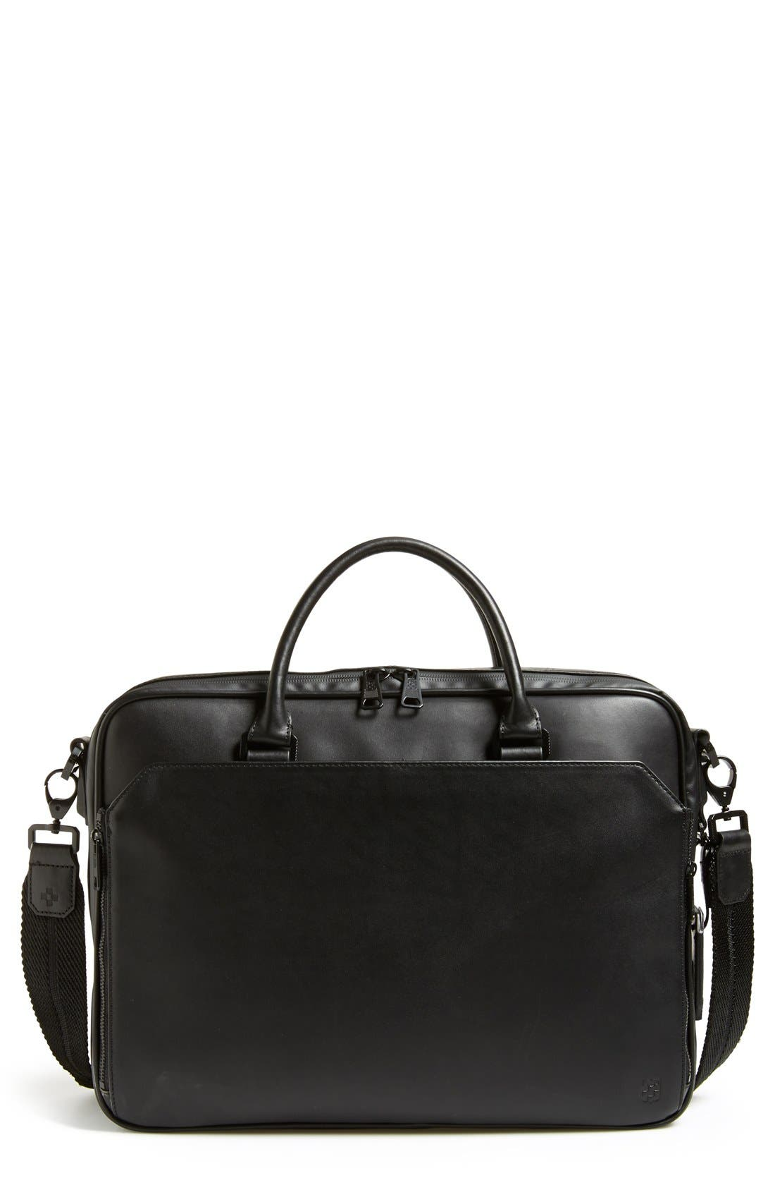 Turin Leather Briefcase,                         Main,                         color, 001