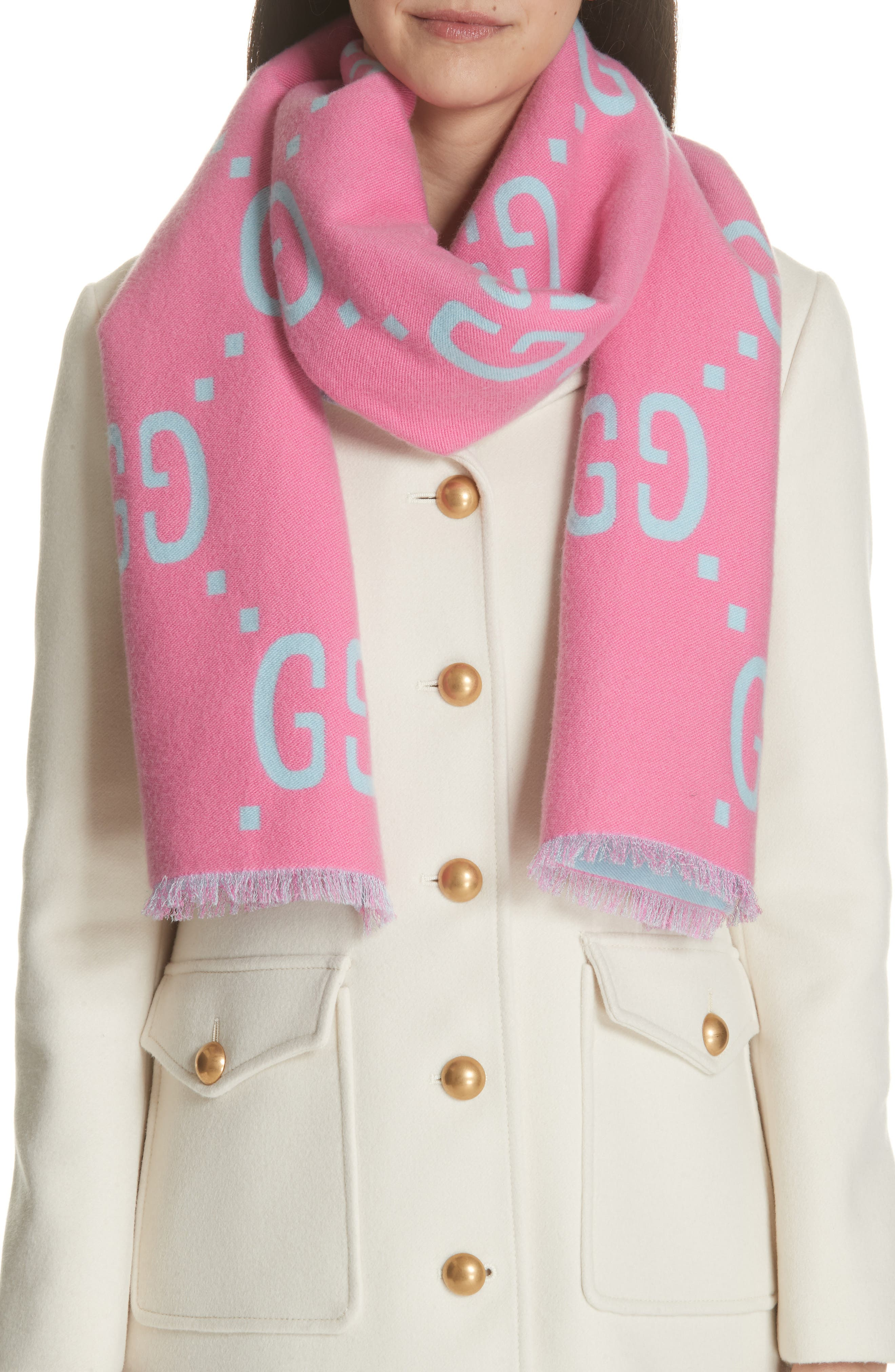 GG Freedom Wool & Silk Scarf,                             Alternate thumbnail 2, color,                             400