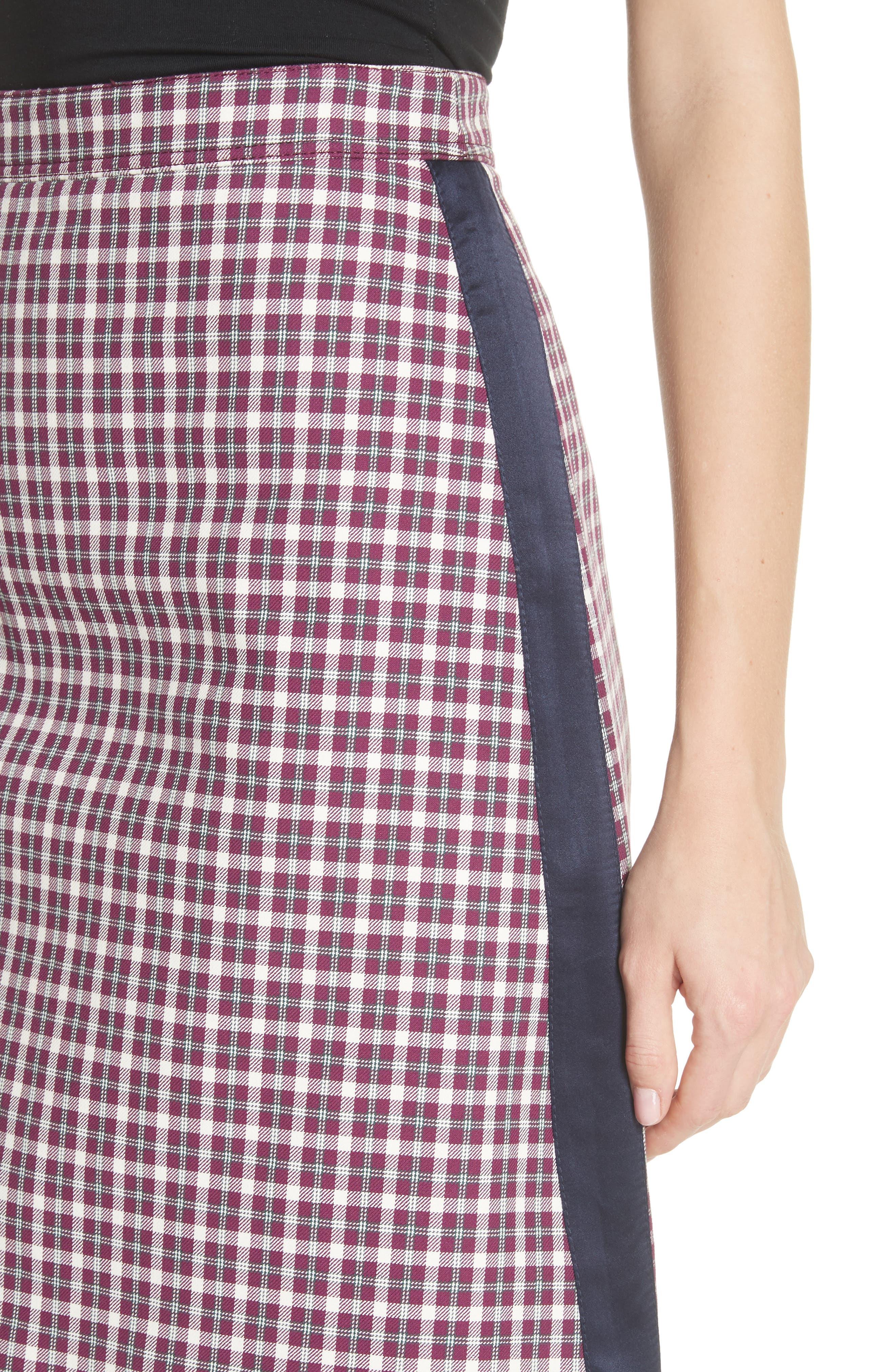 Stanforth Plaid A-Line Skirt,                             Alternate thumbnail 4, color,                             BURGUNDY