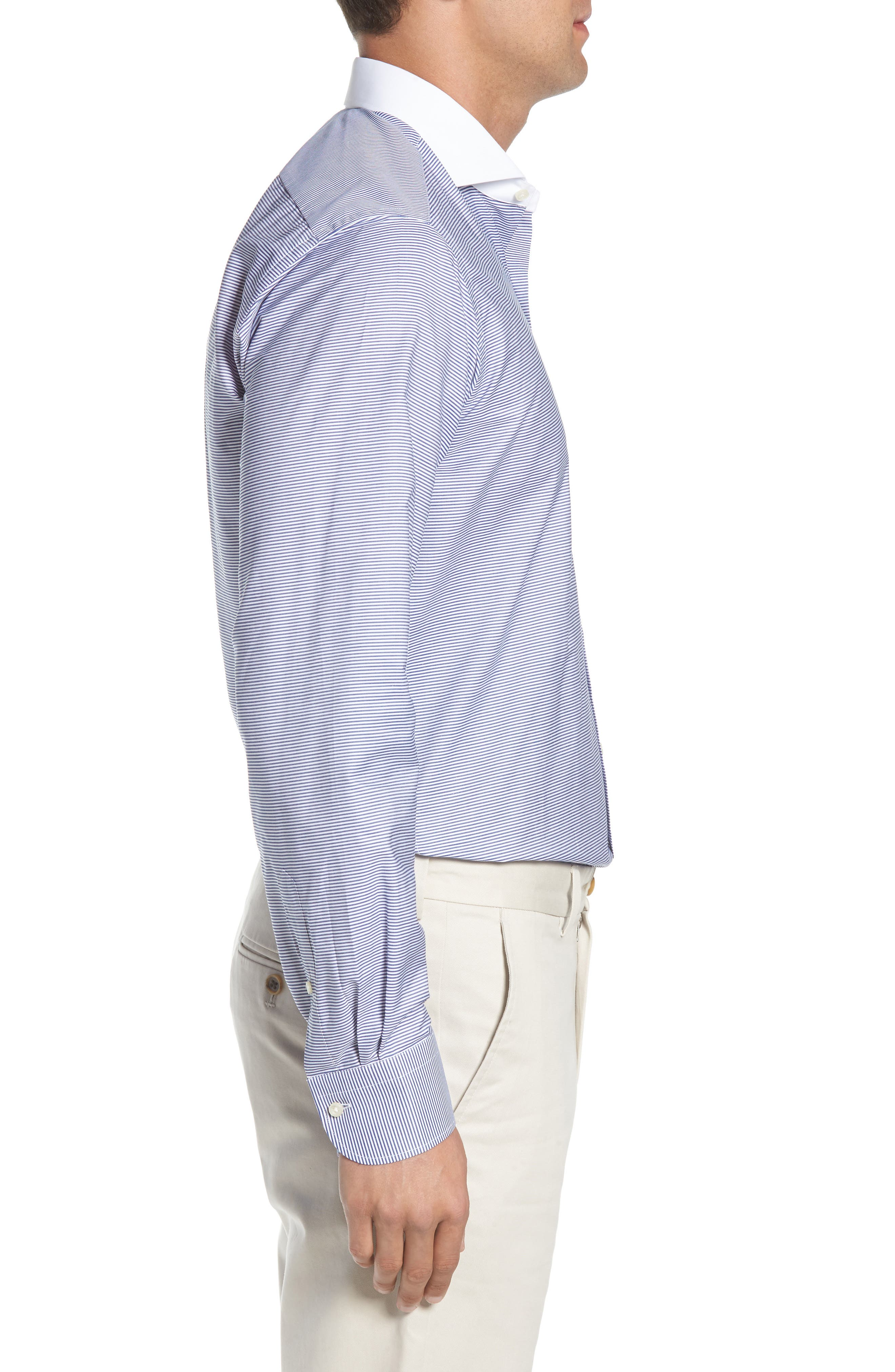 Regular Fit Stripe Dress Shirt,                             Alternate thumbnail 4, color,                             400