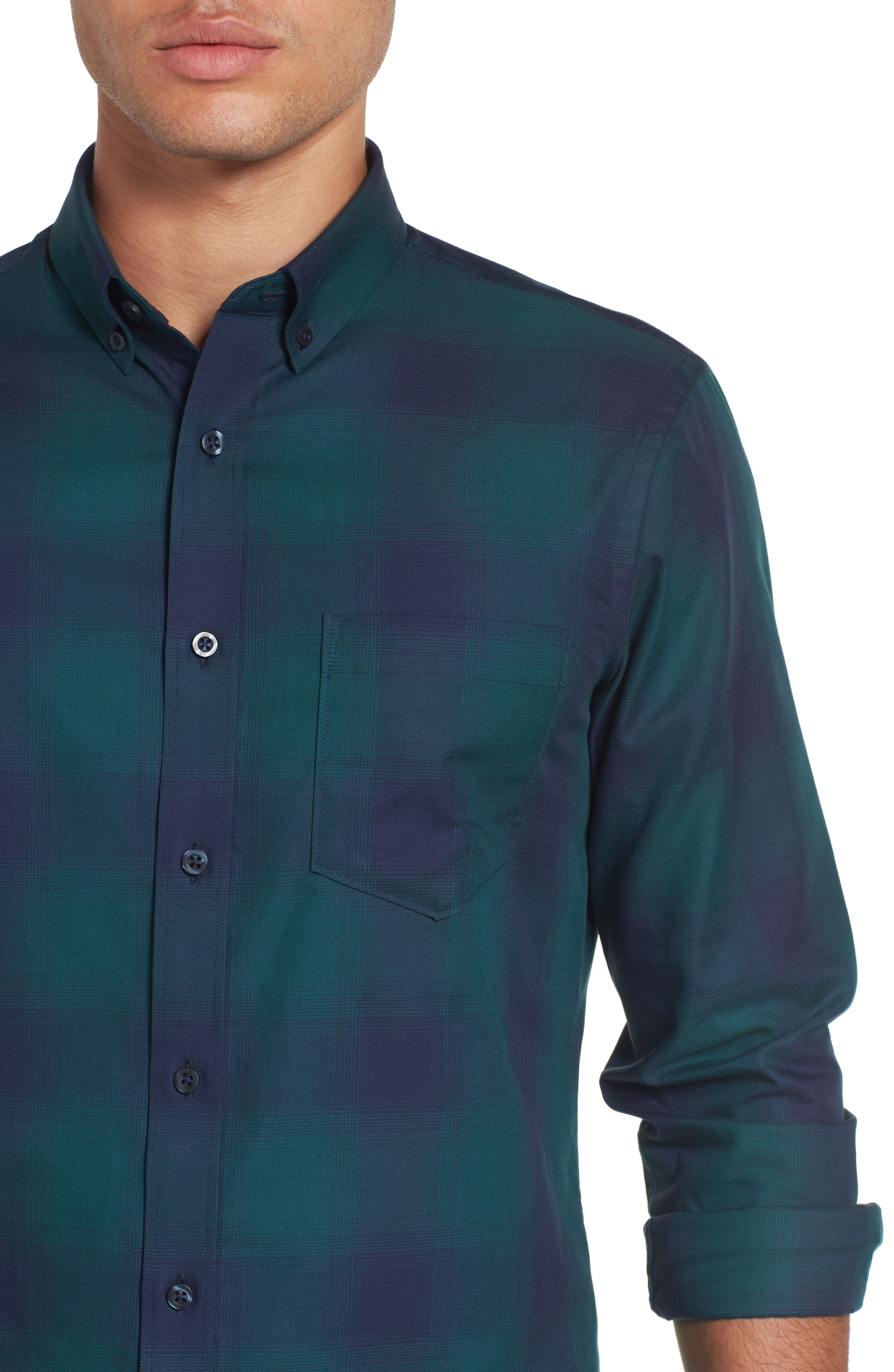 Slim Fit Check Sport Shirt,                             Alternate thumbnail 4, color,                             301