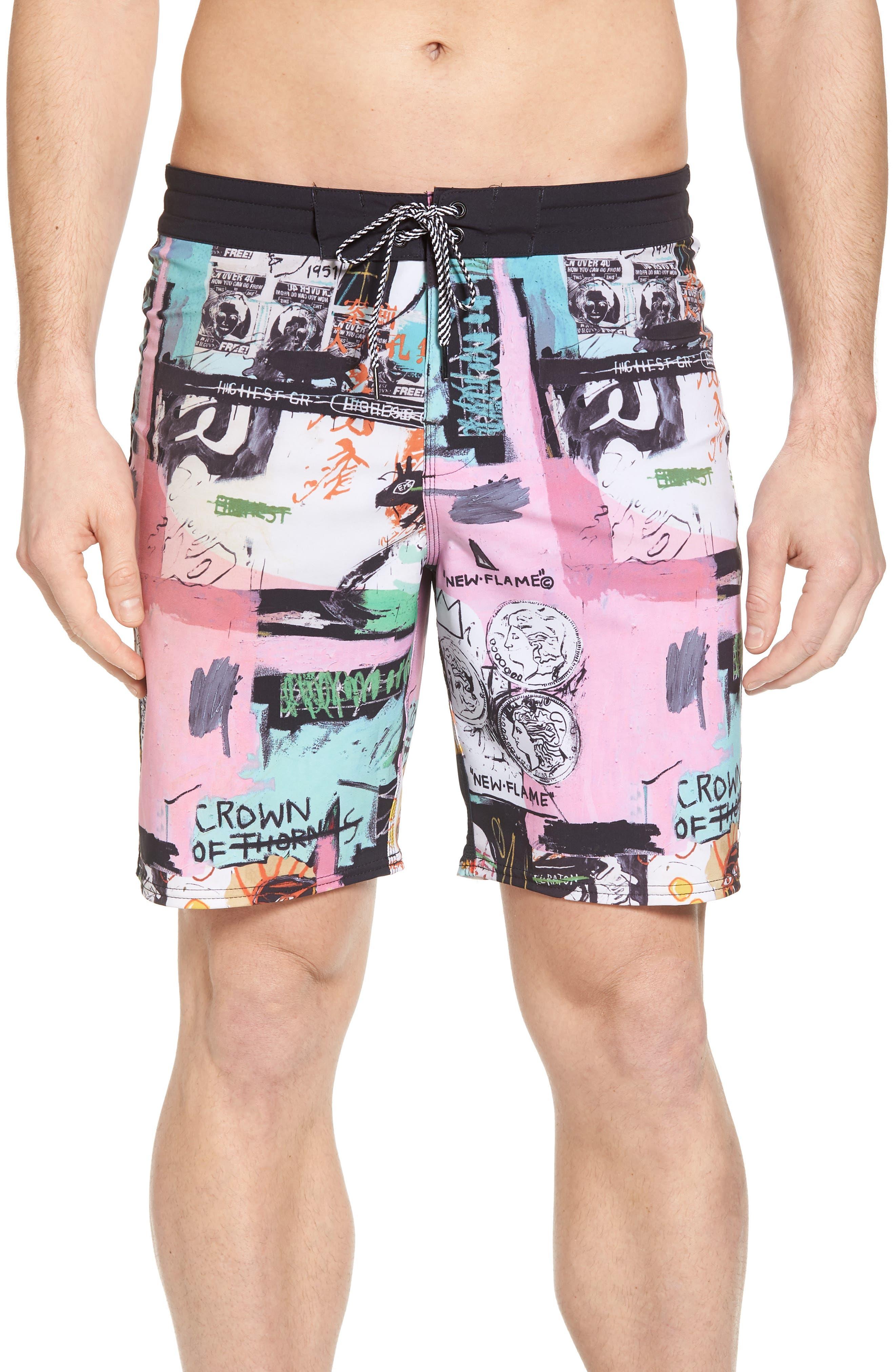 x Warhol Factory X Board Shorts,                             Main thumbnail 1, color,                             100