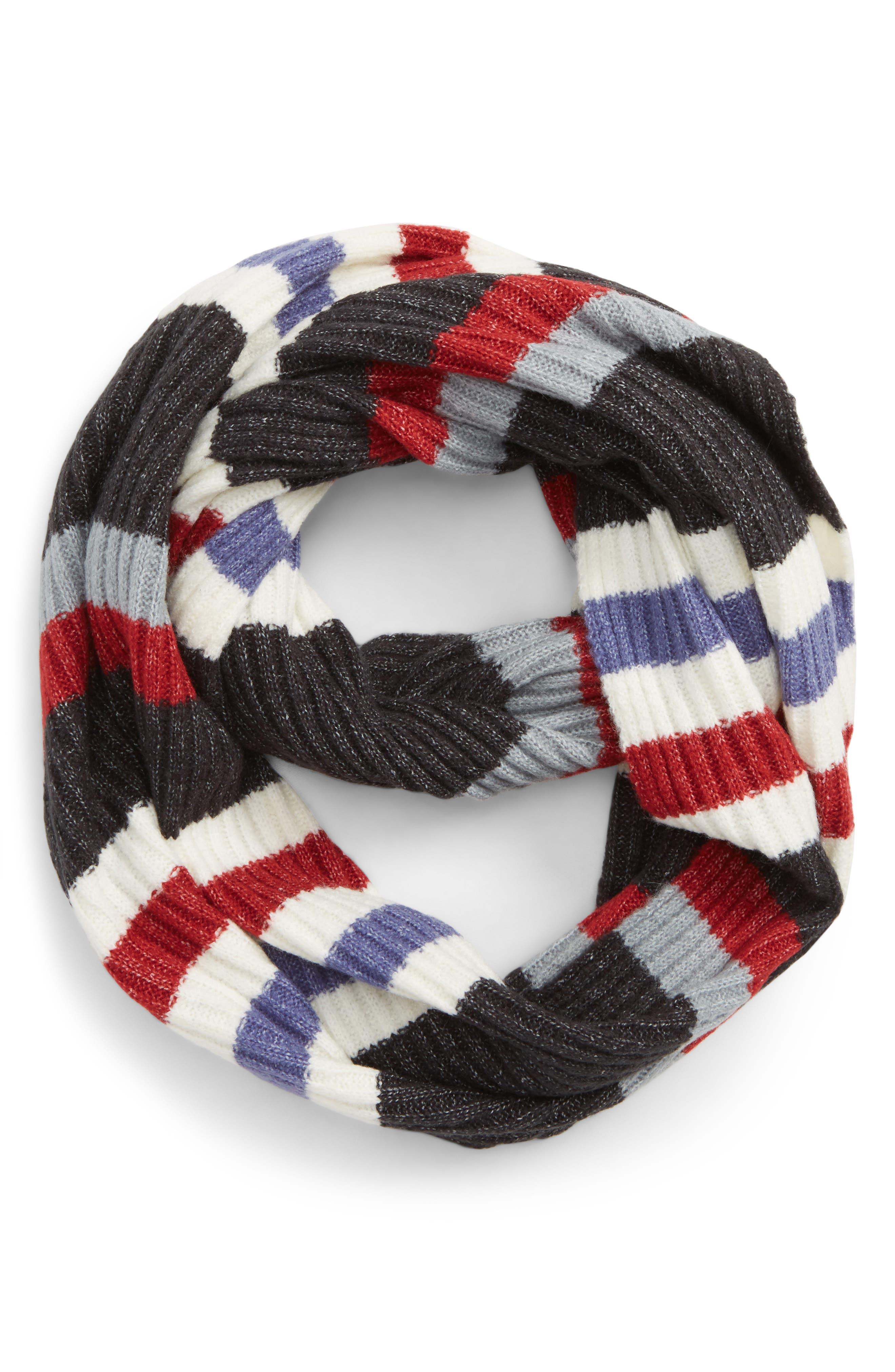 Multi Stripe Rib Scarf,                             Main thumbnail 1, color,                             IVORY MULTI