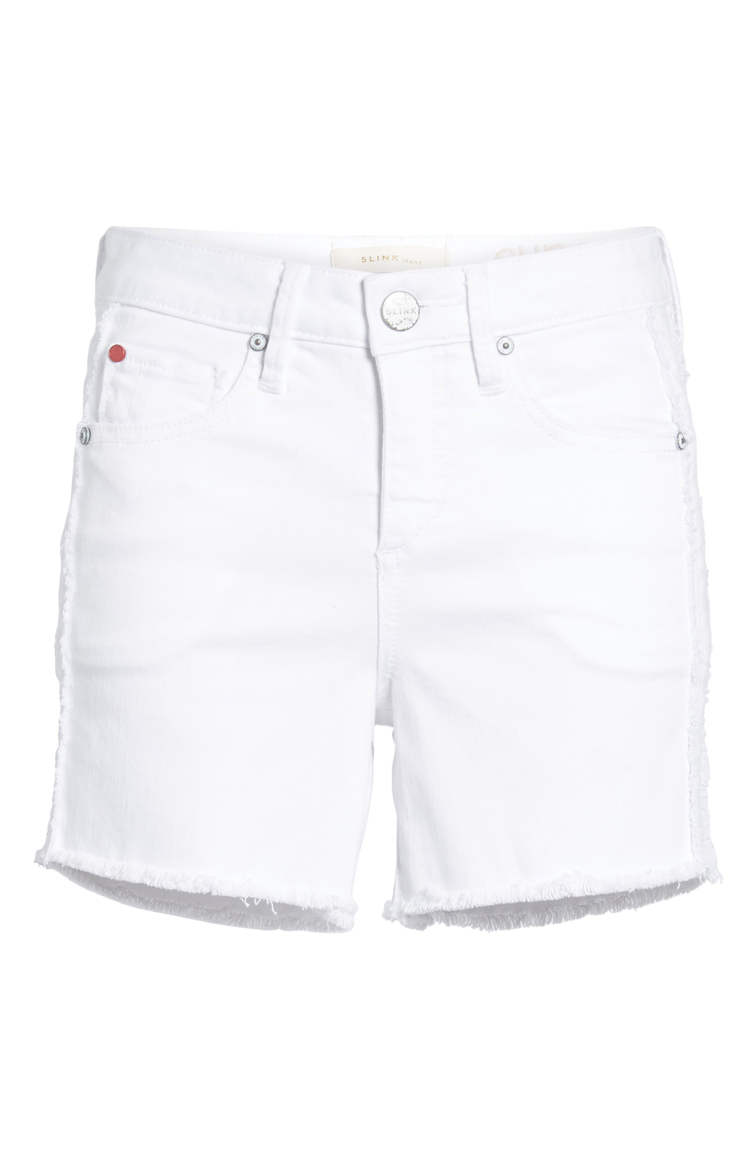 Tux Frayed Denim Shorts,                             Alternate thumbnail 6, color,