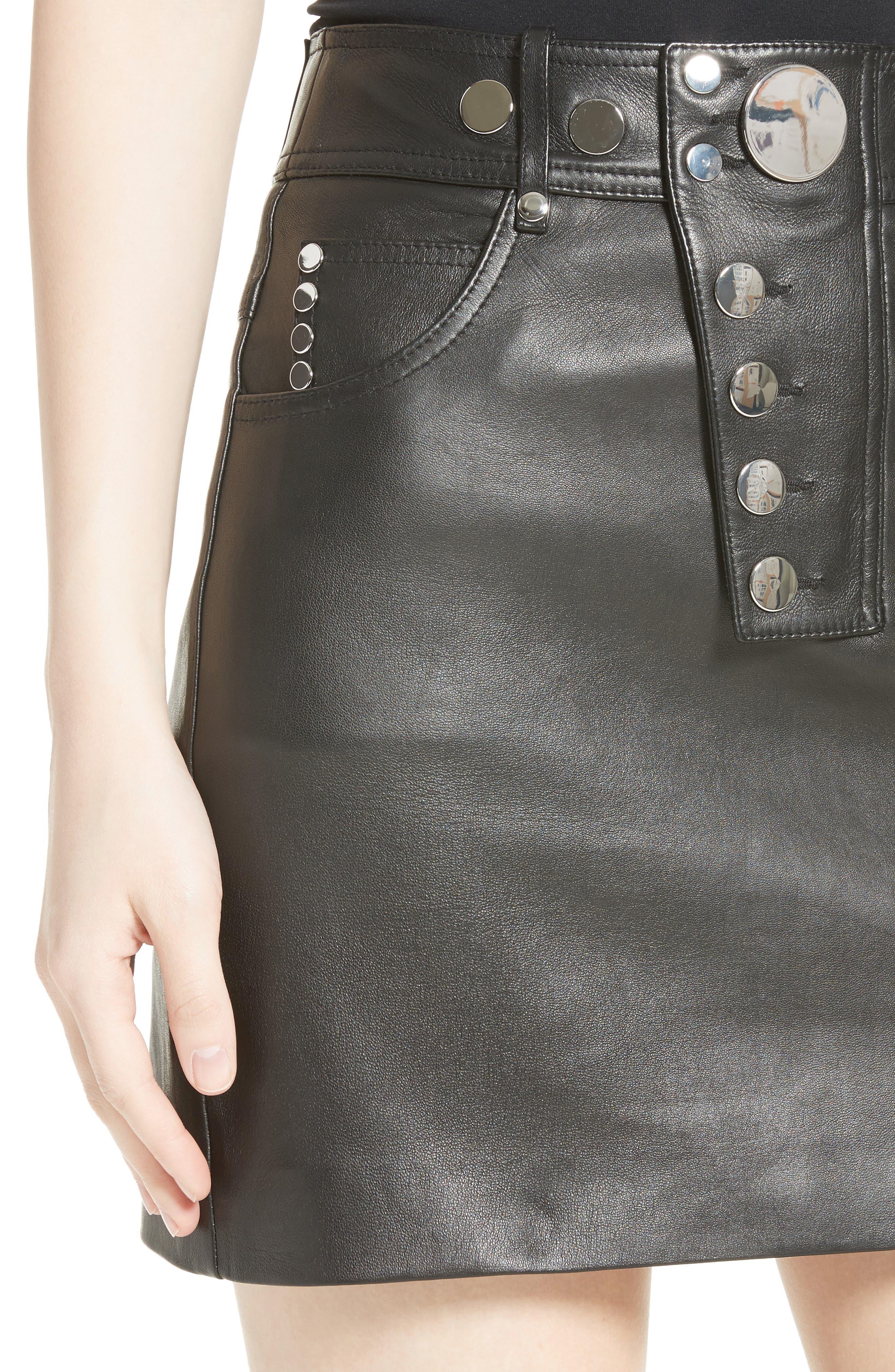 Snap Leather Miniskirt,                             Alternate thumbnail 4, color,                             001