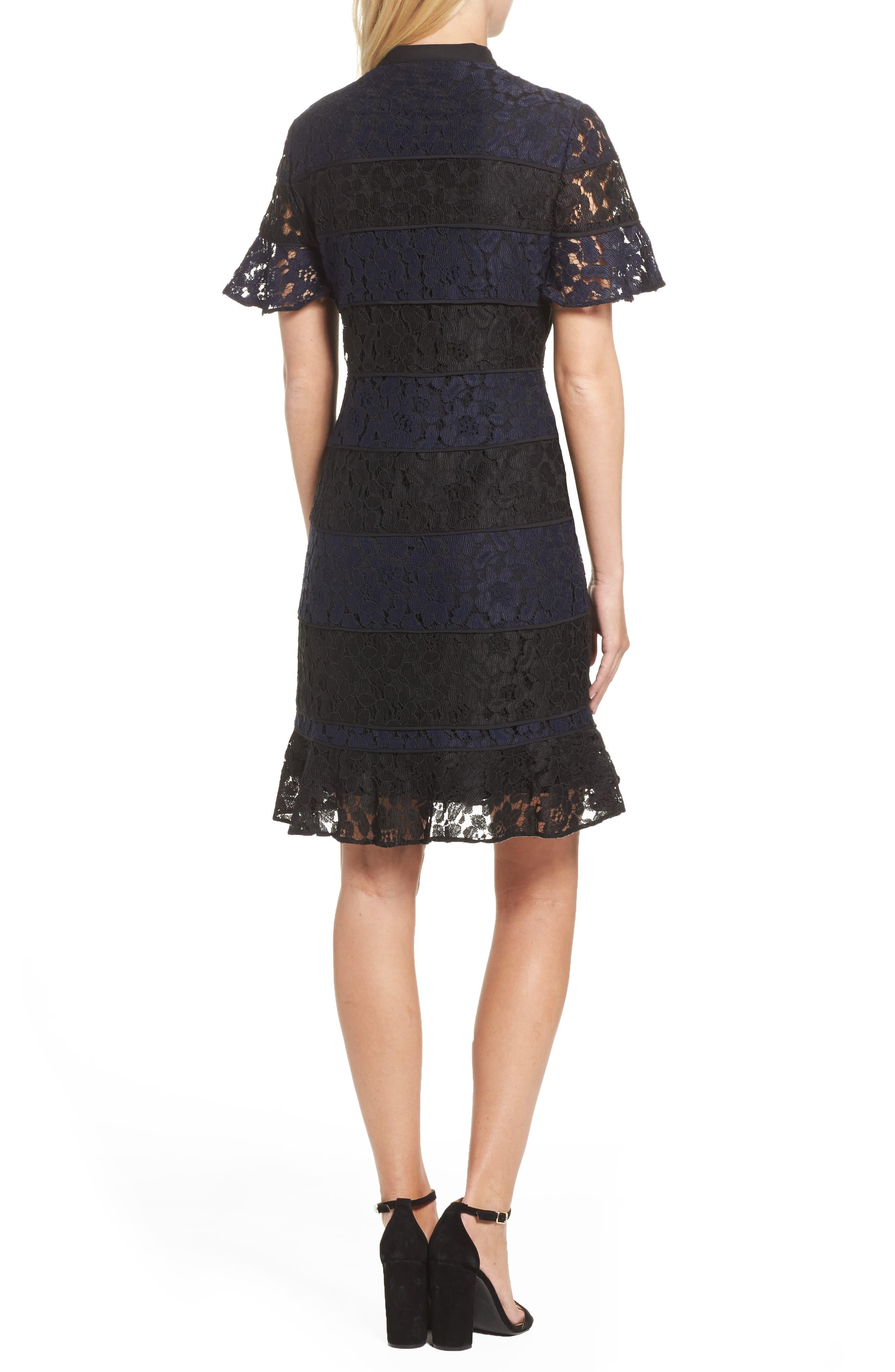 Lace Fit & Flare Dress,                             Alternate thumbnail 2, color,                             010