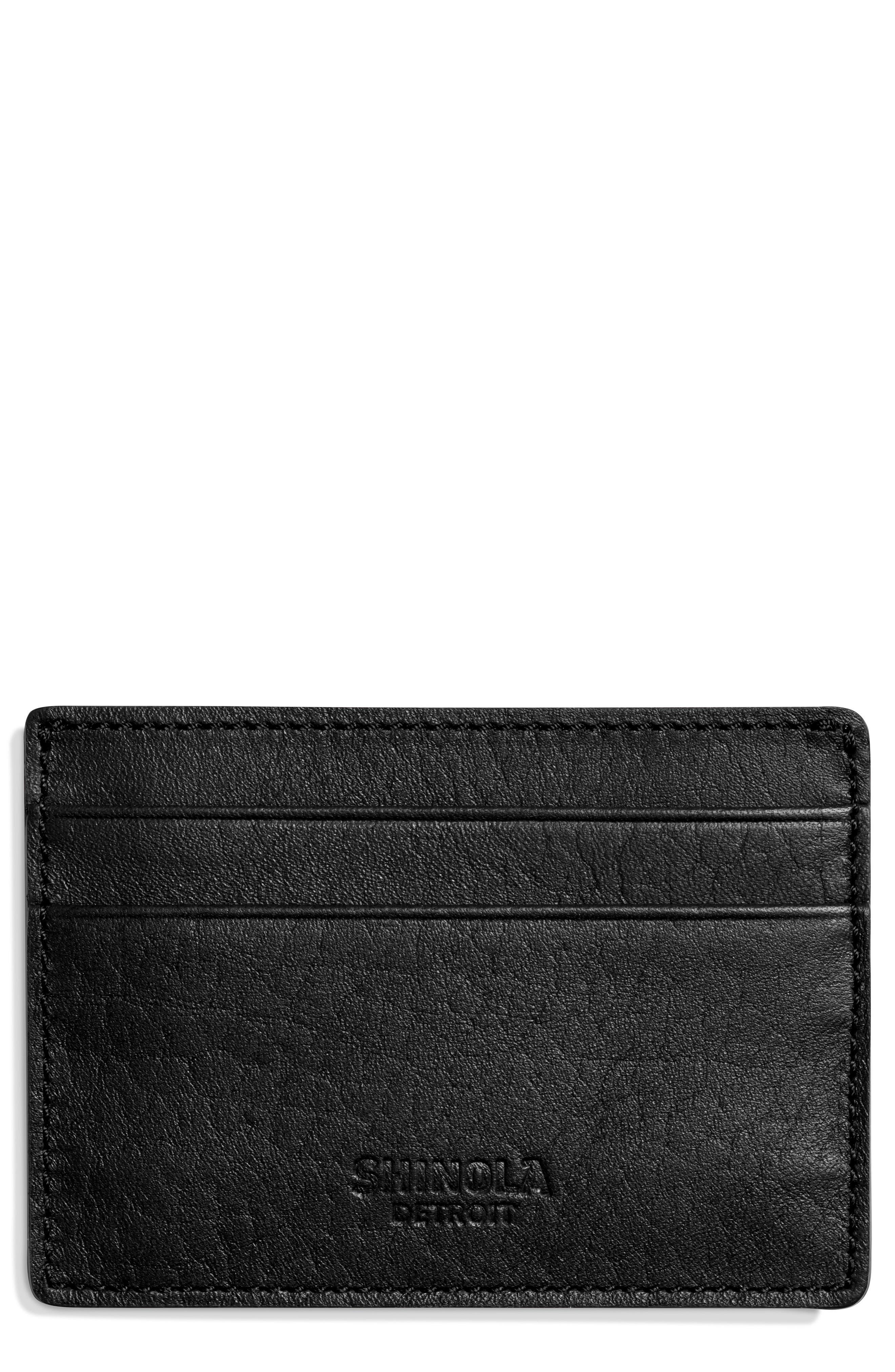 Leather Card Case,                             Main thumbnail 1, color,                             BLACK