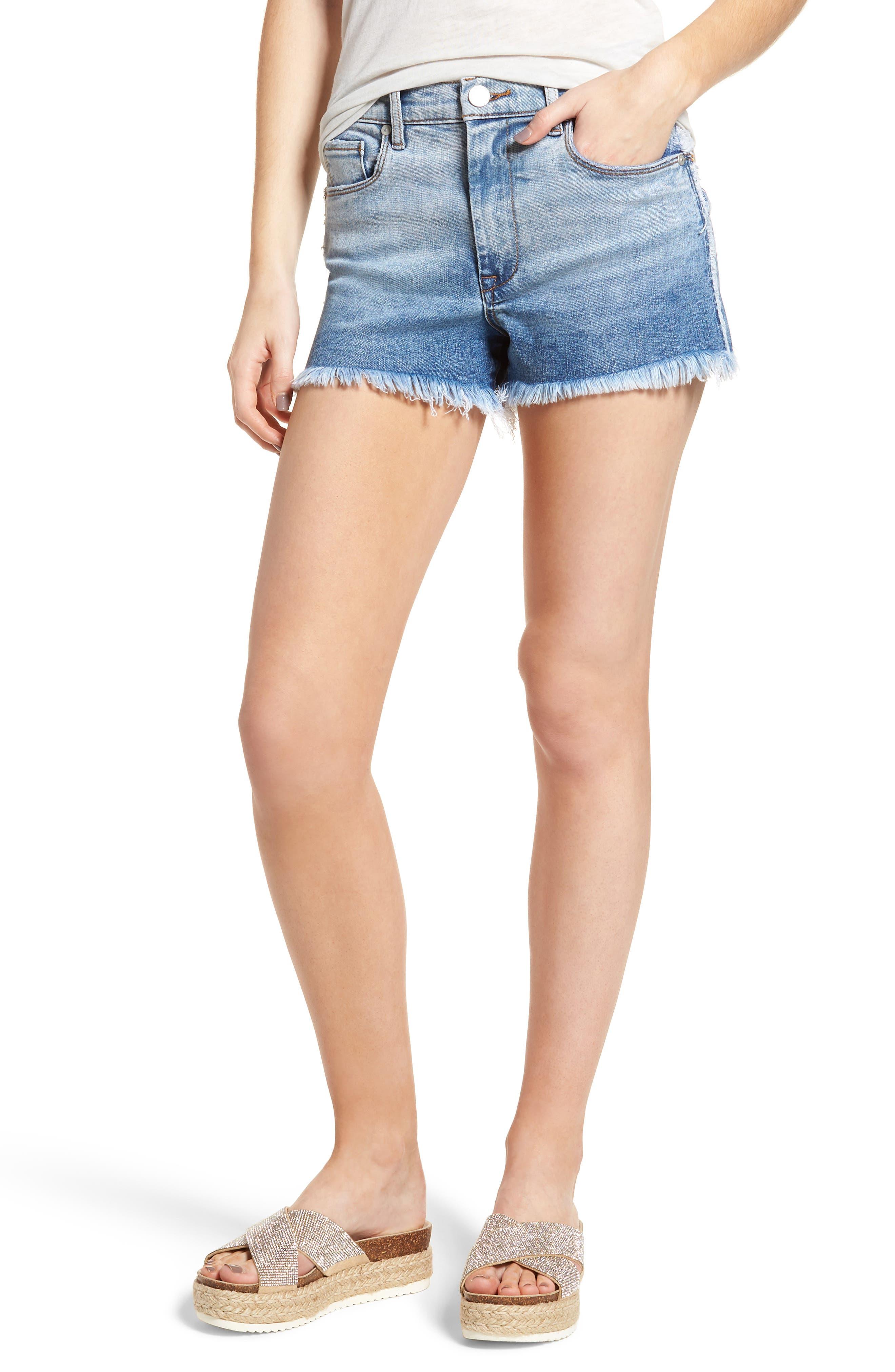 High Waist Cutoff Denim Shorts,                             Main thumbnail 1, color,                             400