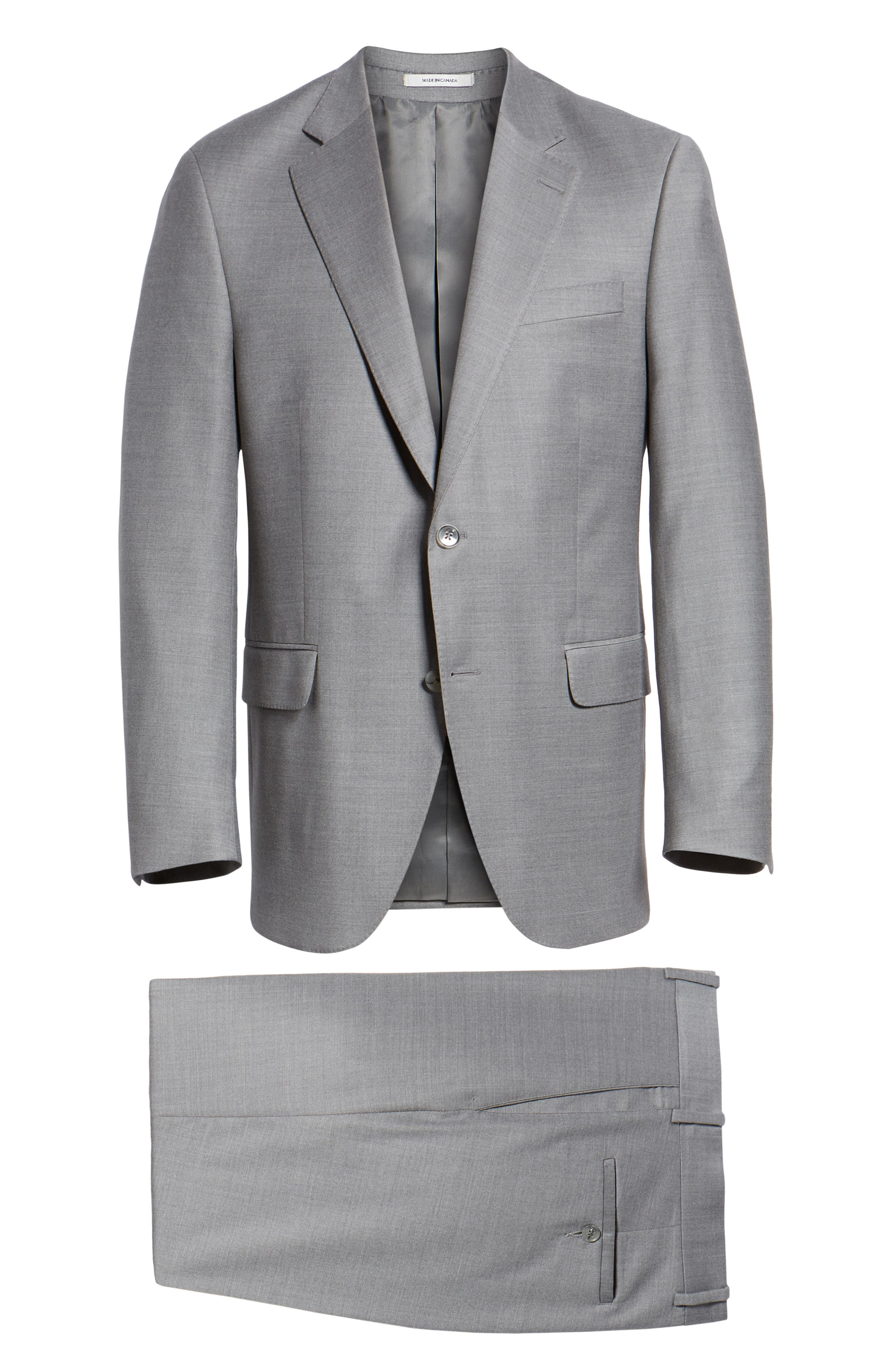 Flynn Classic Fit Solid Wool Suit,                             Alternate thumbnail 8, color,                             LIGHT GREY