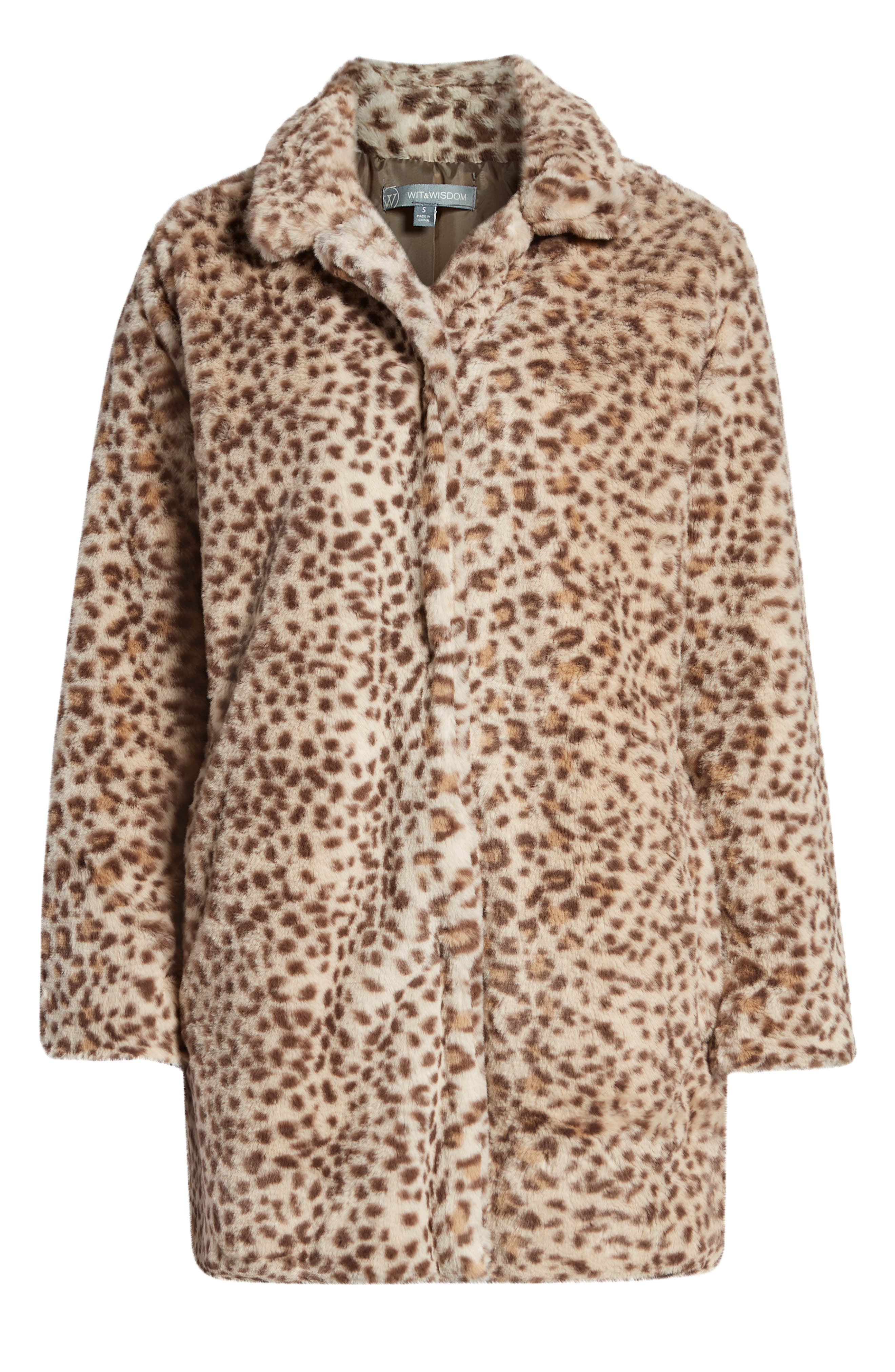 Faux Leopard Fur Coat,                             Alternate thumbnail 6, color,                             TAN