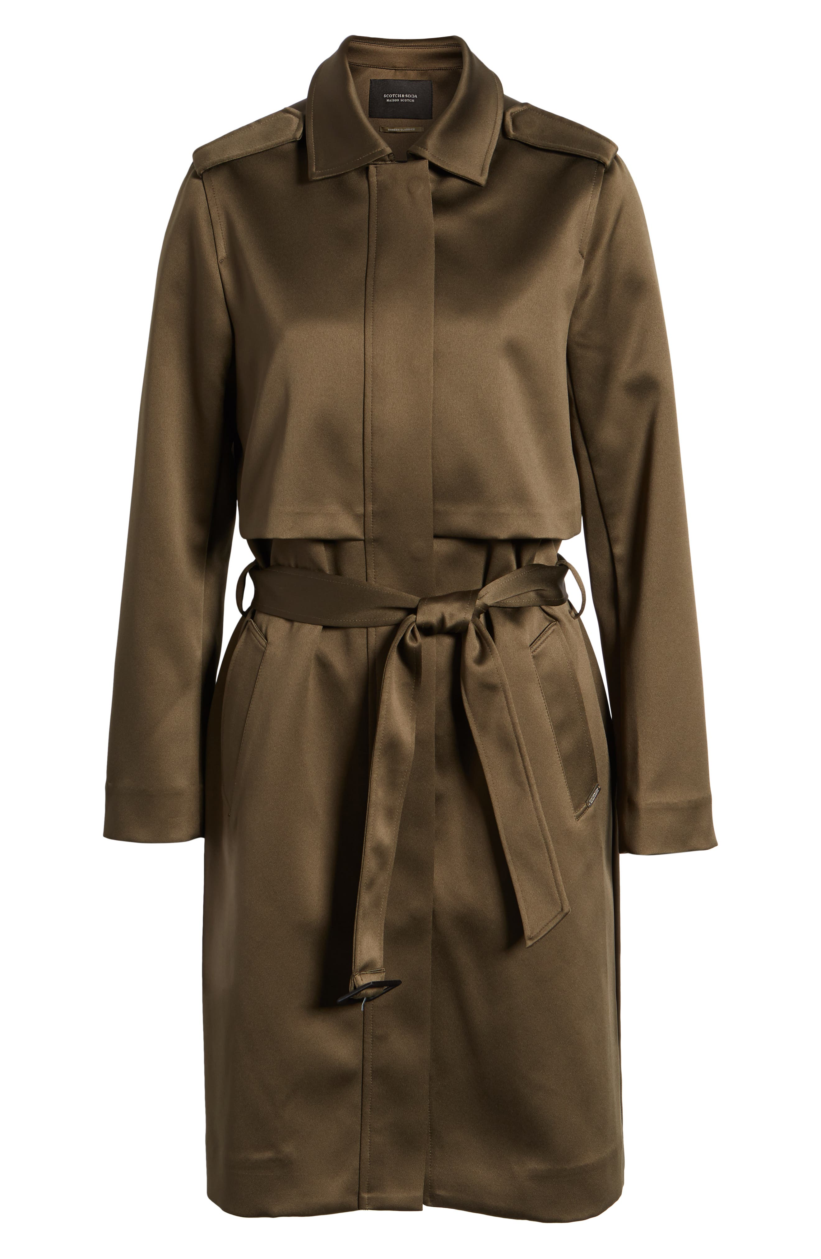 SCOTCH & SODA,                             Shiny Structured Trench Coat,                             Alternate thumbnail 6, color,                             301