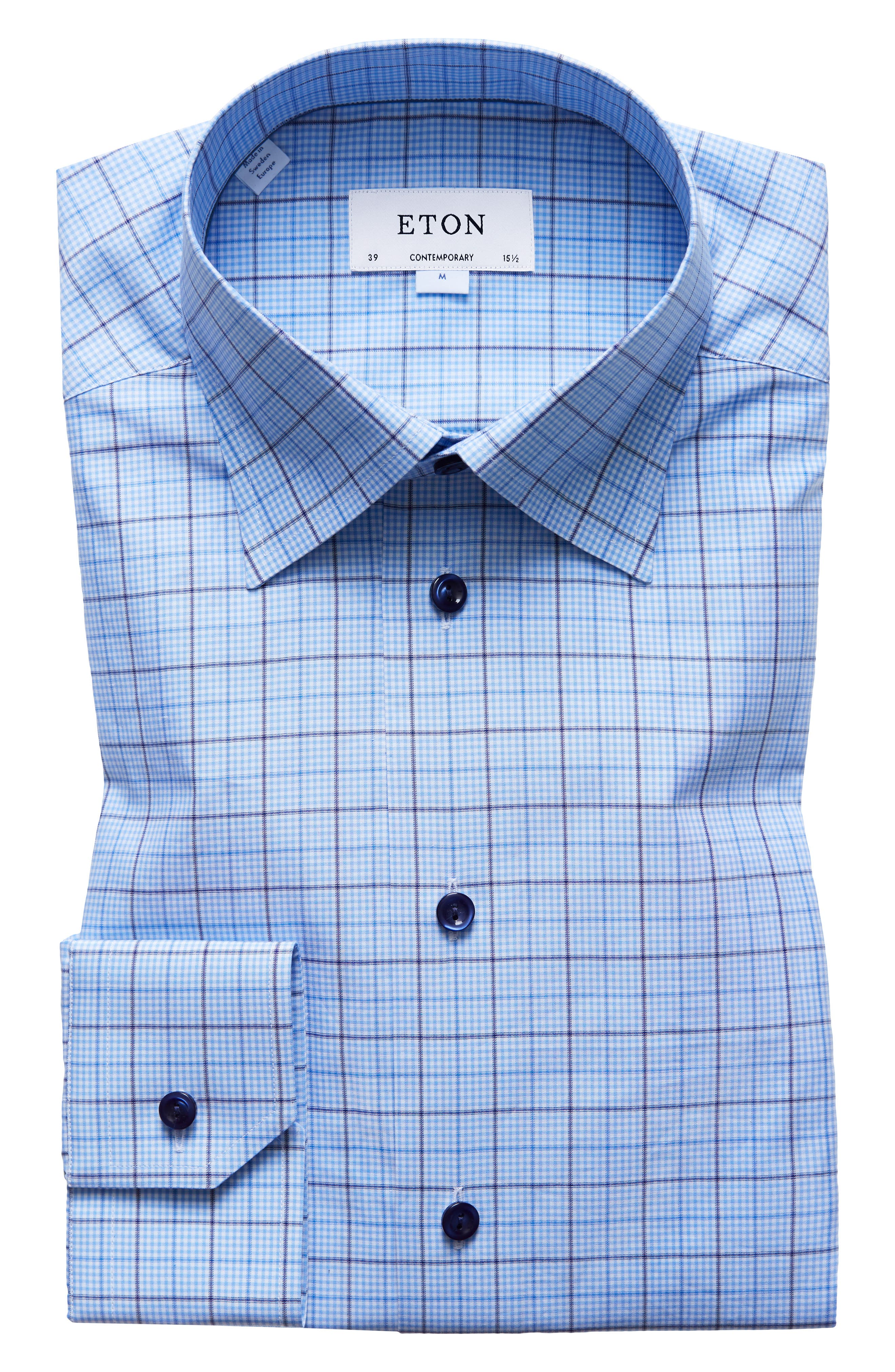 ETON,                             Contemporary Fit Plaid Dress Shirt,                             Main thumbnail 1, color,                             400