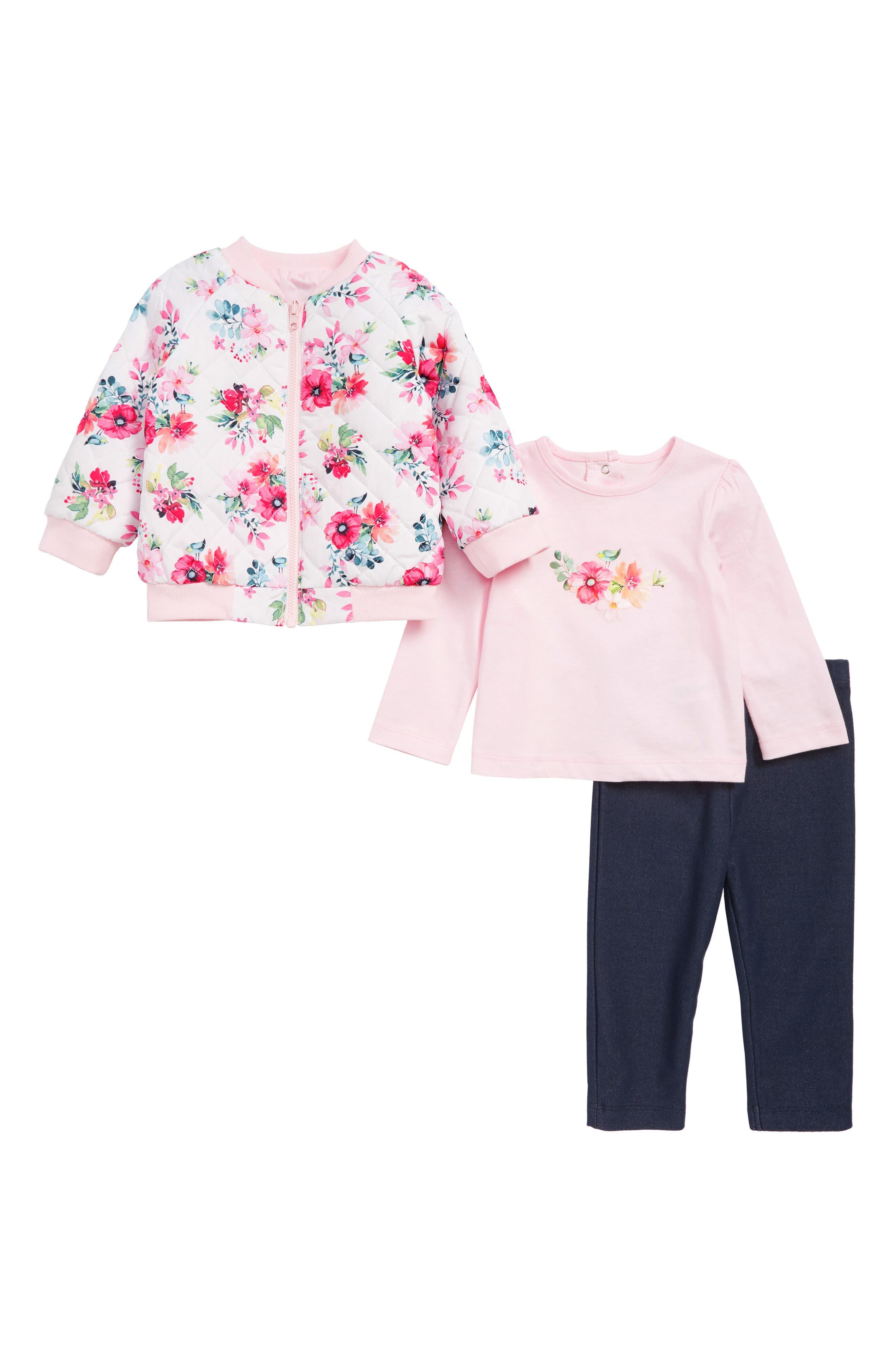LITTLE ME,                             Reversible Jacket, T-Shirt & Leggings Set,                             Main thumbnail 1, color,                             PINK MULTI