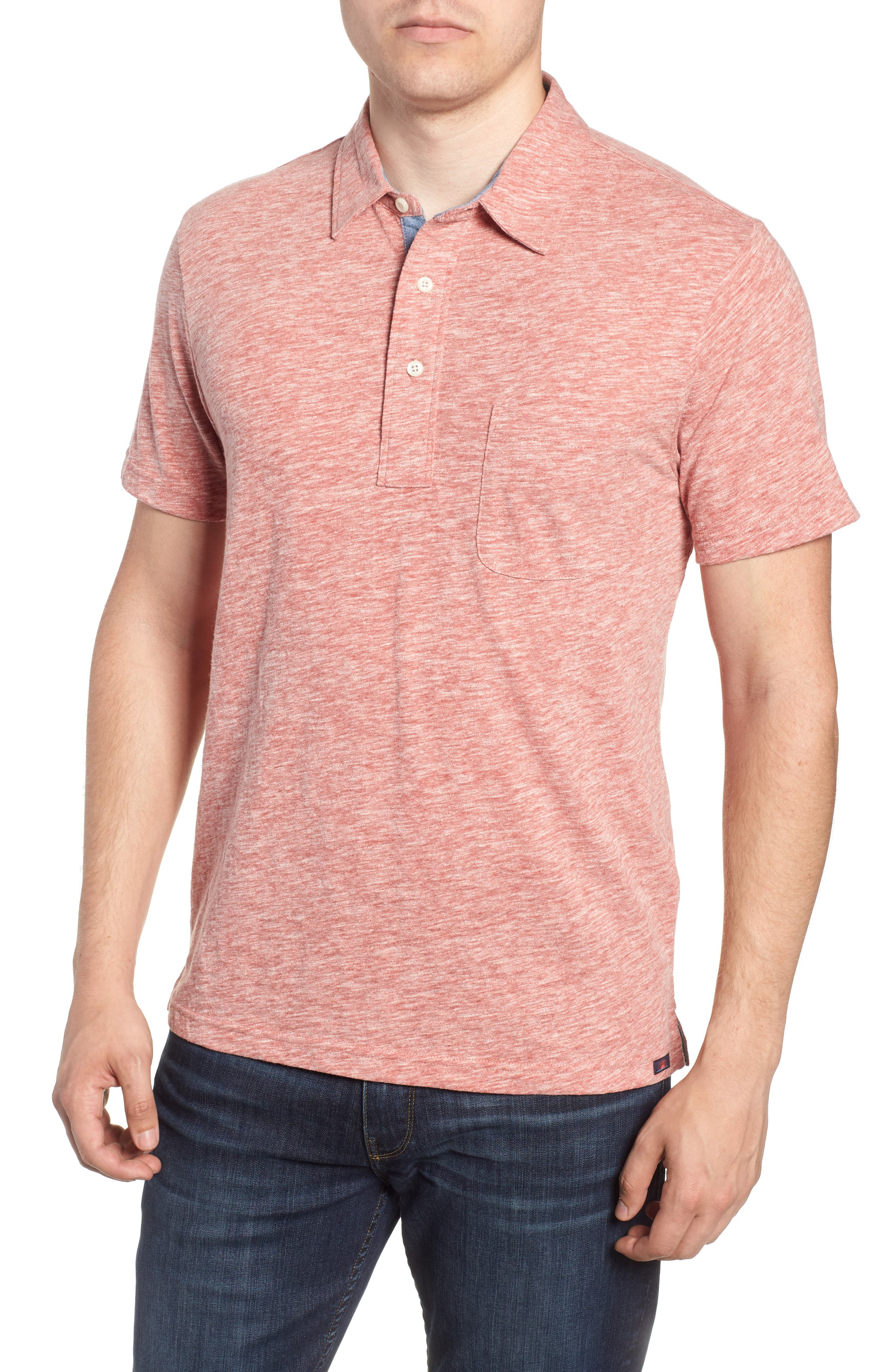 Heather Polo,                         Main,                         color, FADED RED