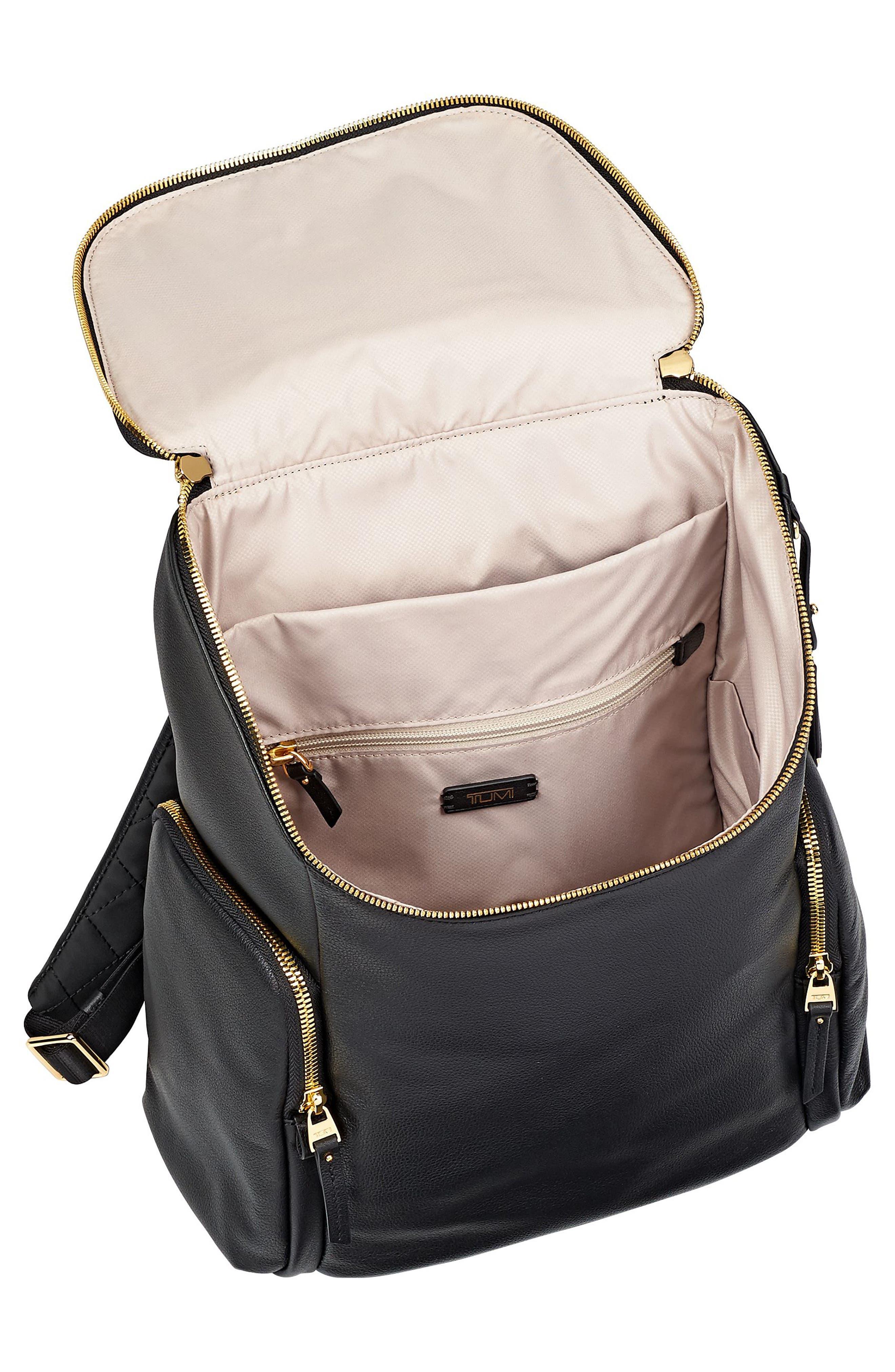 Voyageur Lexa Leather Backpack,                             Alternate thumbnail 4, color,                             001