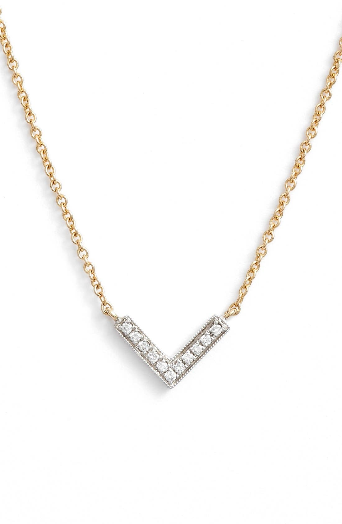 'Sylvie Rose' Diamond V Pendant Necklace,                         Main,                         color, YELLOW GOLD