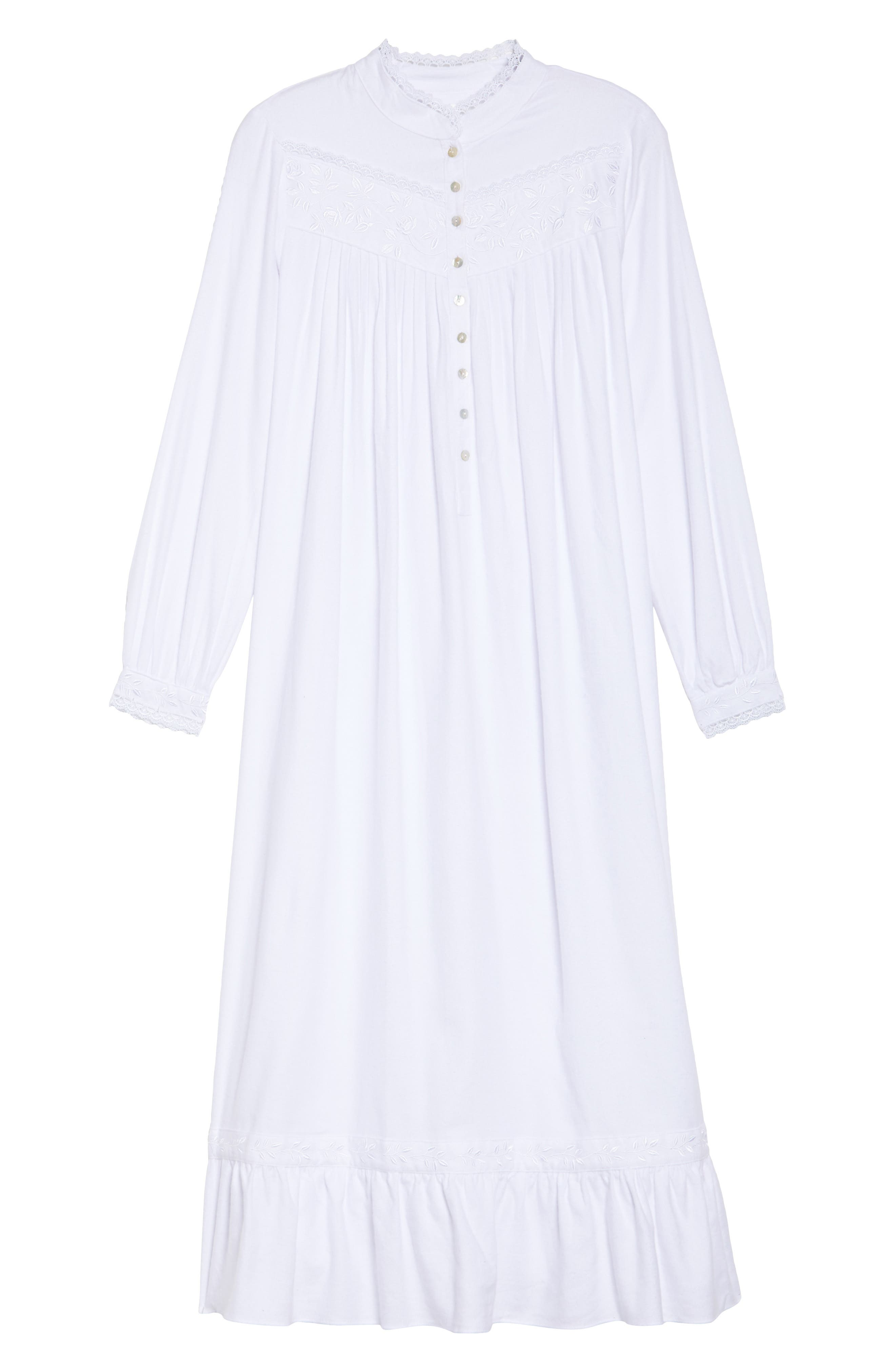 High Neck Cotton Nightgown,                             Alternate thumbnail 6, color,