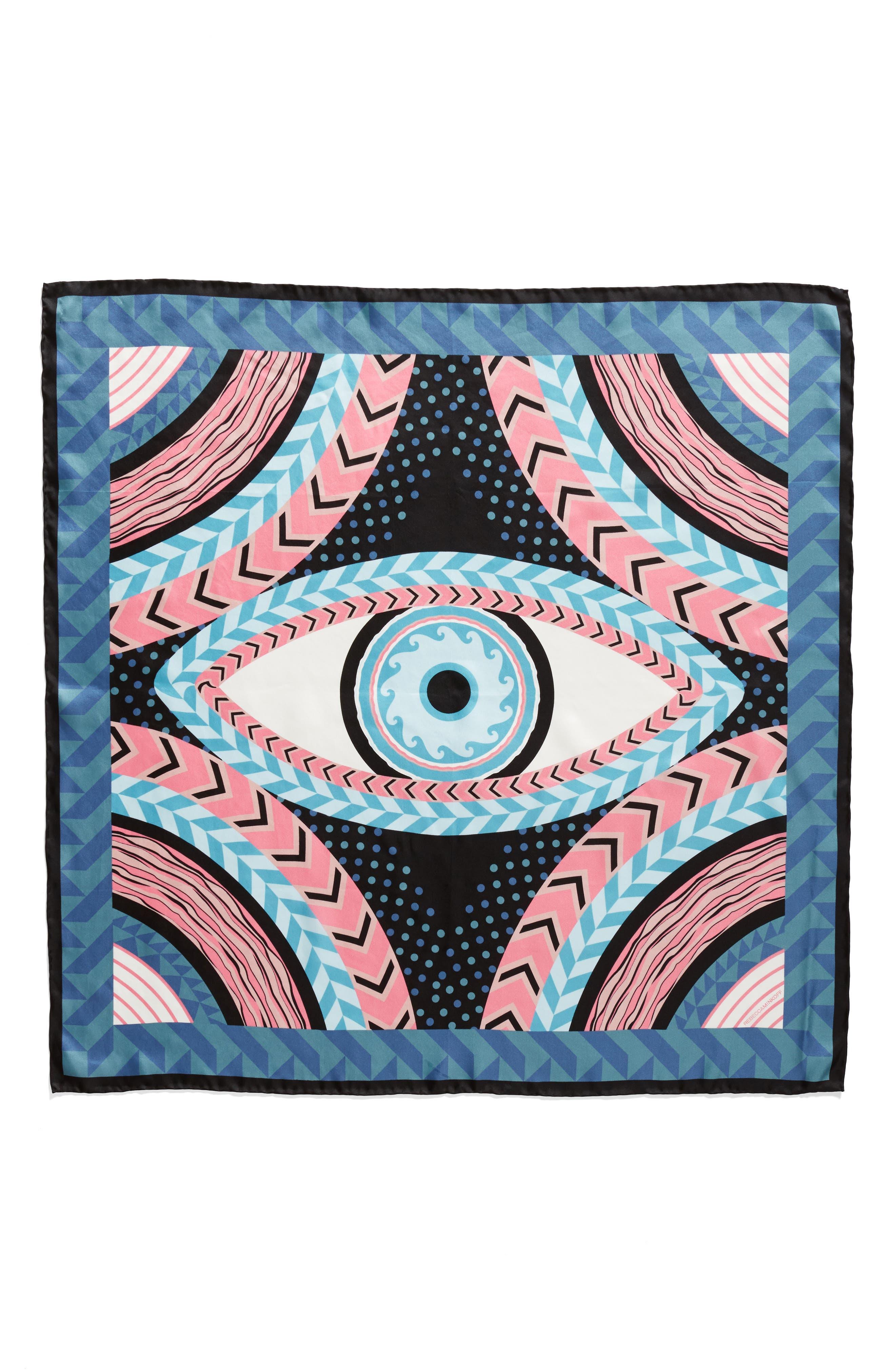 Geo Evil Eye Square Silk Scarf,                             Alternate thumbnail 3, color,