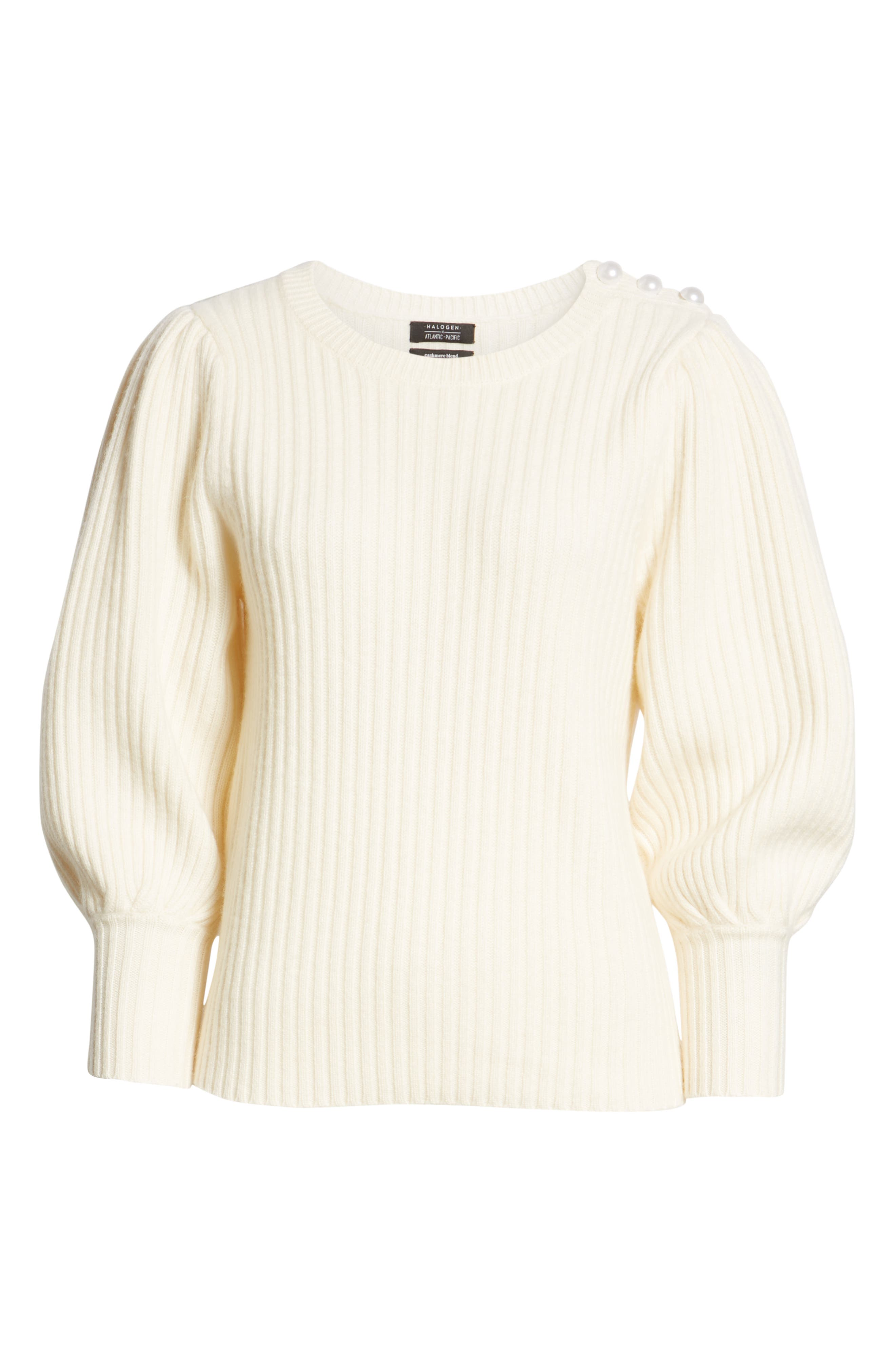 x Atlantic-Pacific Balloon Sleeve Wool & Cashmere Sweater,                             Alternate thumbnail 7, color,                             900