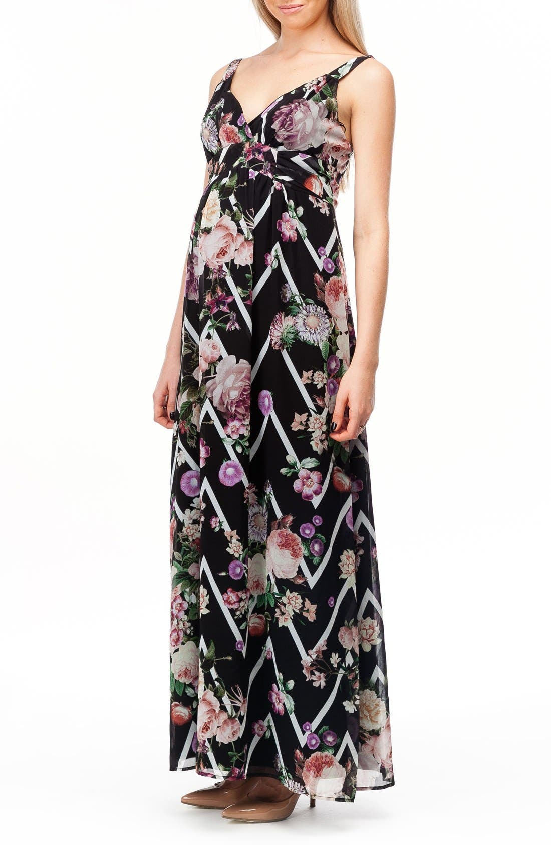 Murano Maternity Maxi Dress,                             Alternate thumbnail 4, color,                             FLOWER ZIGZAG