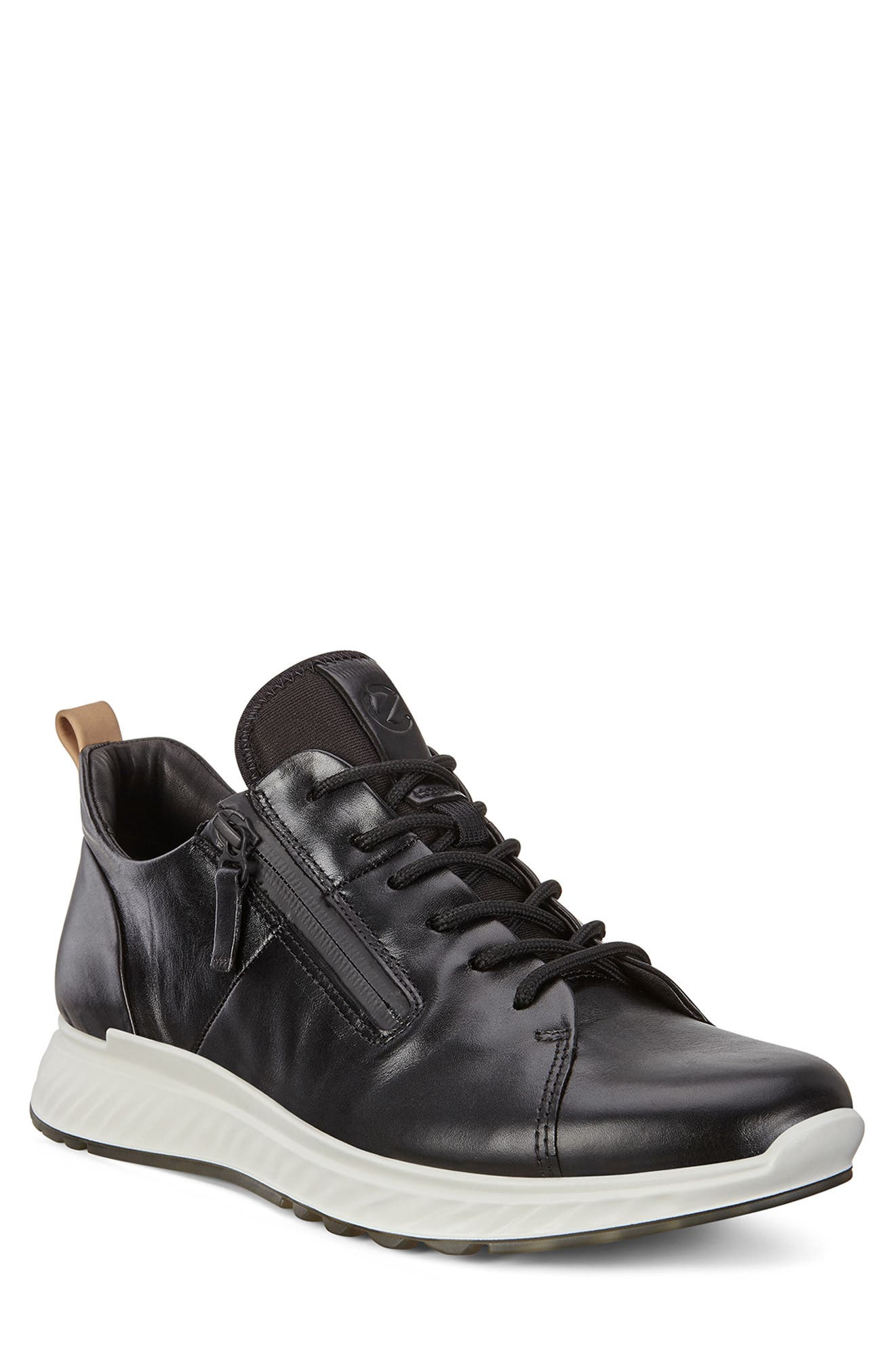ST1 Zipper Sneaker,                             Main thumbnail 1, color,                             BLACK LEATHER