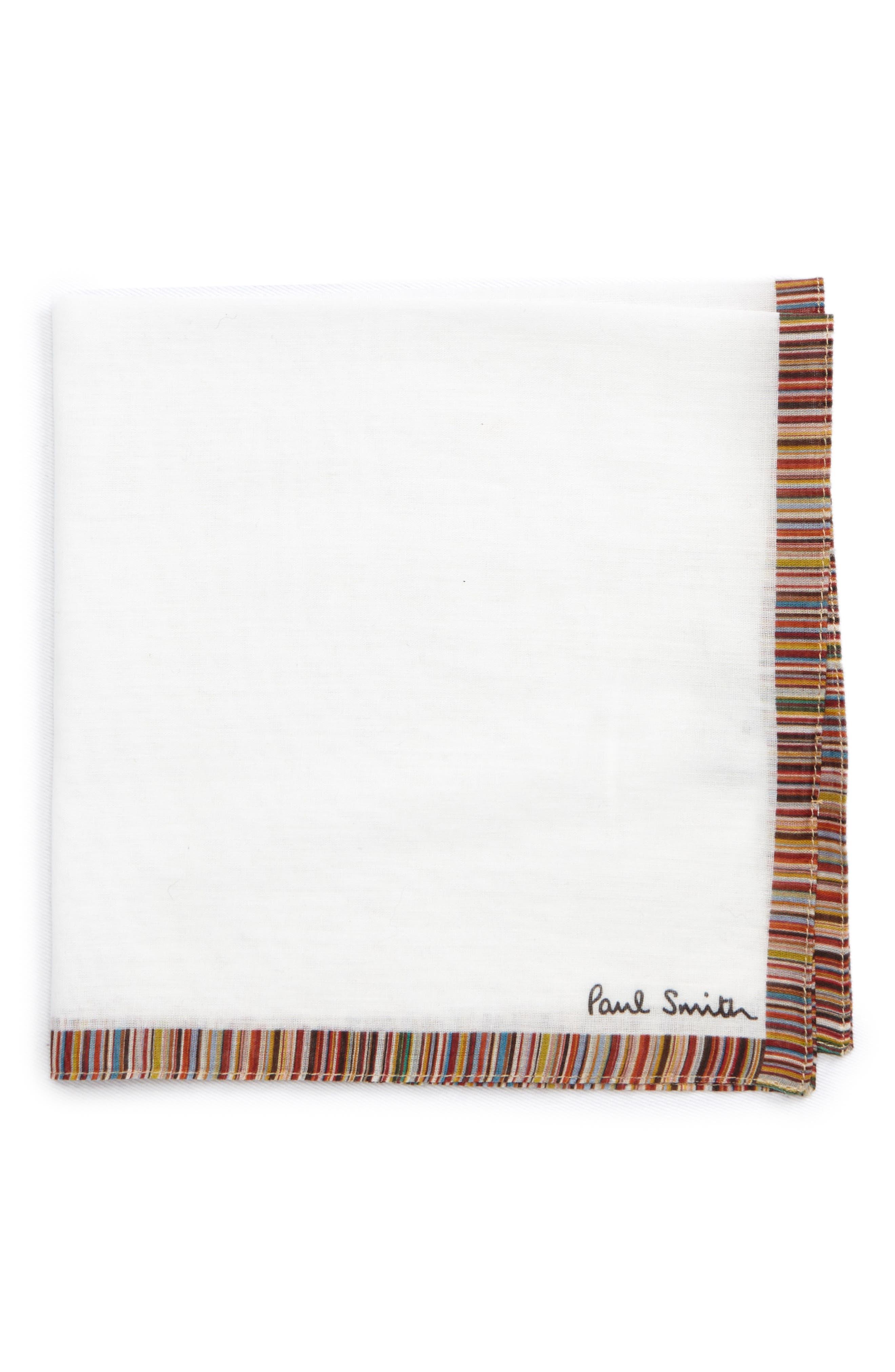 Multistripe Trim Pocket Square,                             Main thumbnail 1, color,                             WHITE