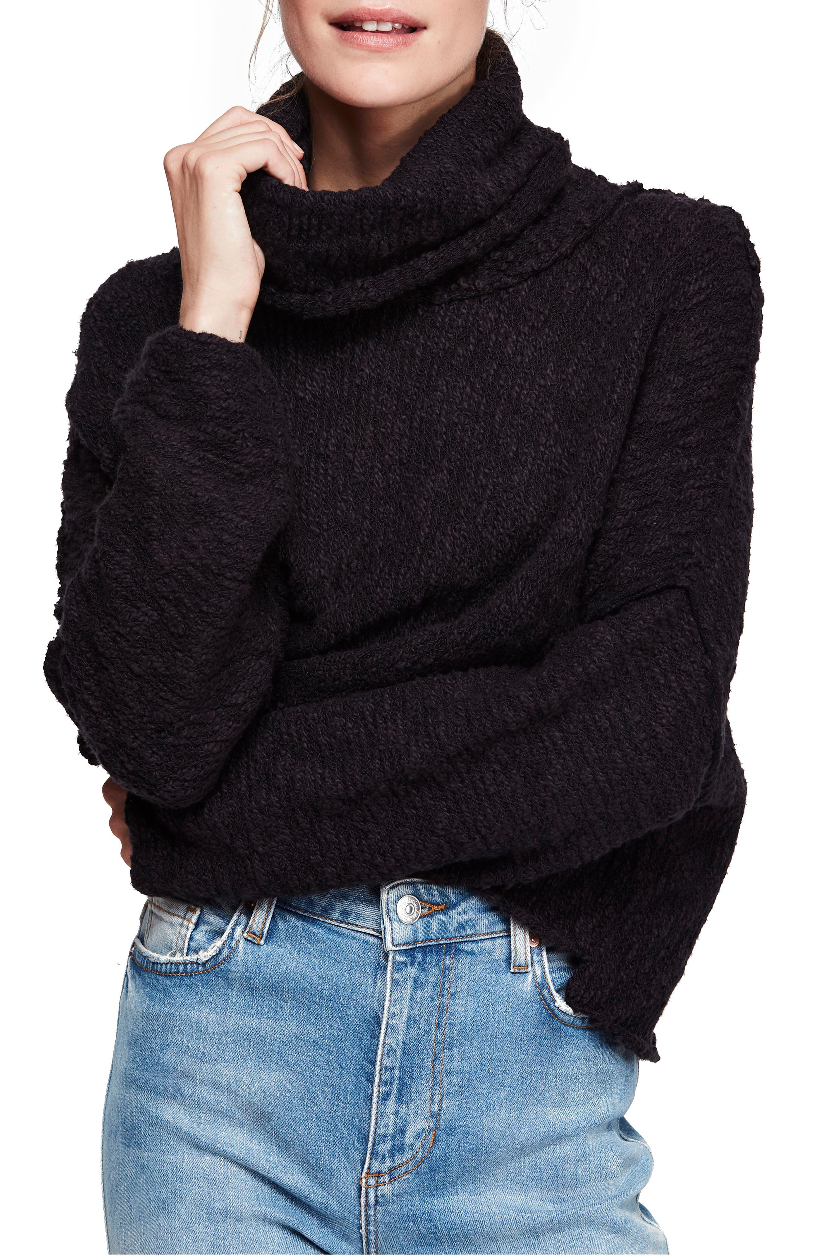 Big Easy Cowl Neck Crop Sweater, Main, color, BLACK