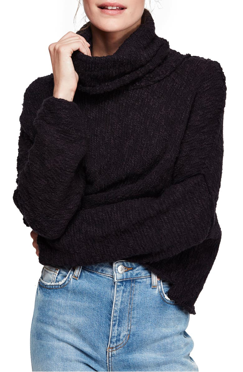 Big Easy Cowl Neck Crop Sweater, Main, color, BLACK