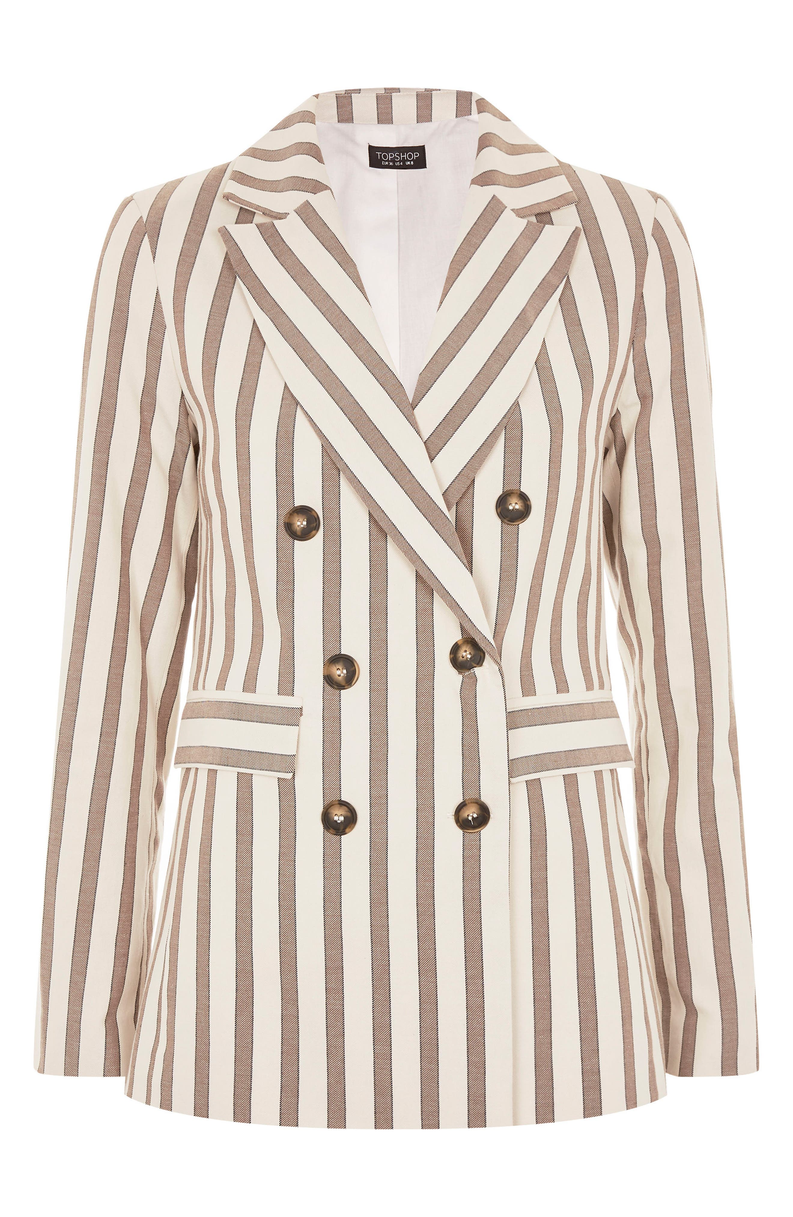 Taupe Stripe Double Breasted Blazer,                             Alternate thumbnail 3, color,                             900