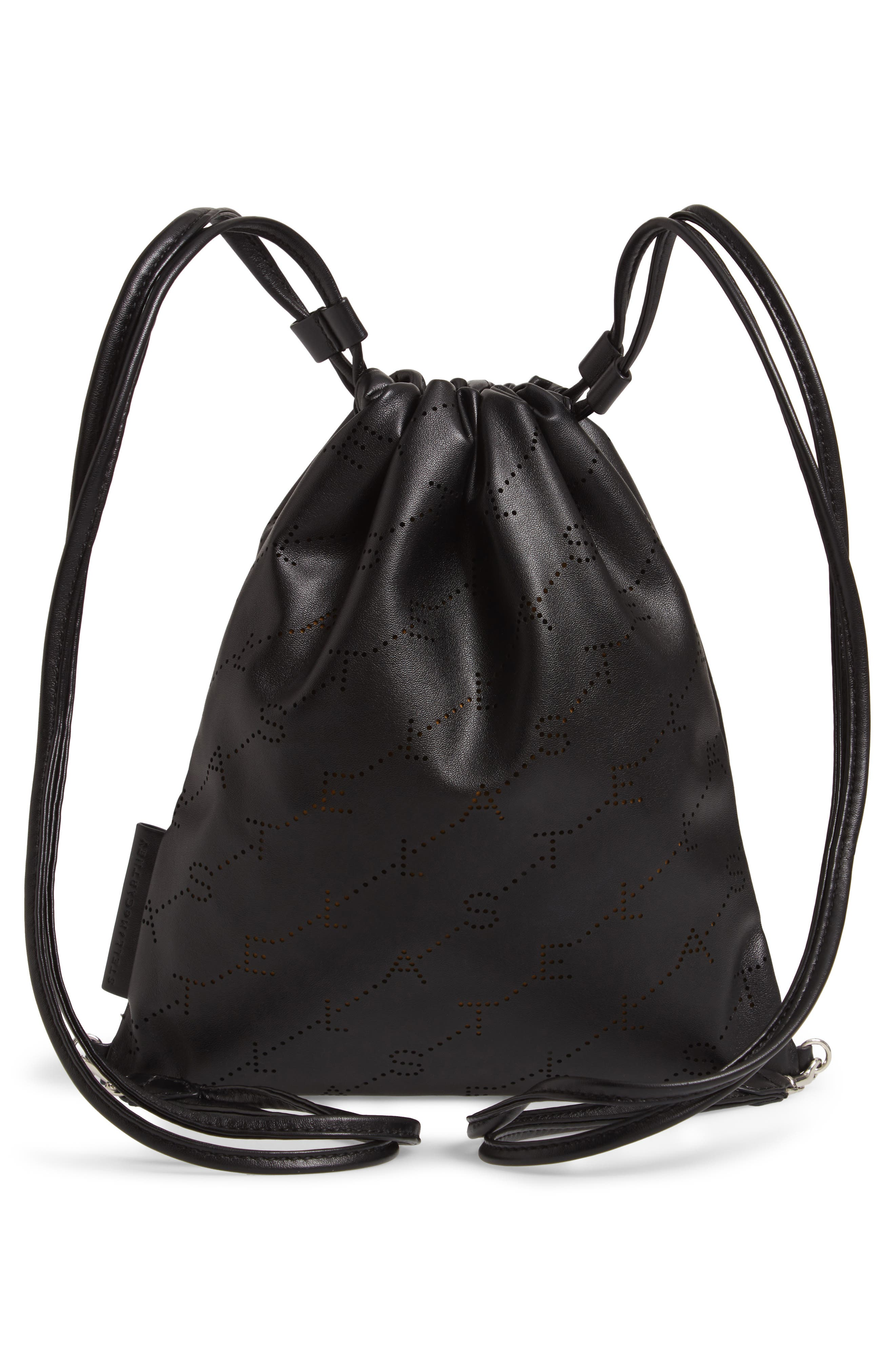 STELLA MCCARTNEY,                             Perforated Logo Mini Faux Leather Drawstring Backpack,                             Alternate thumbnail 3, color,                             BLACK