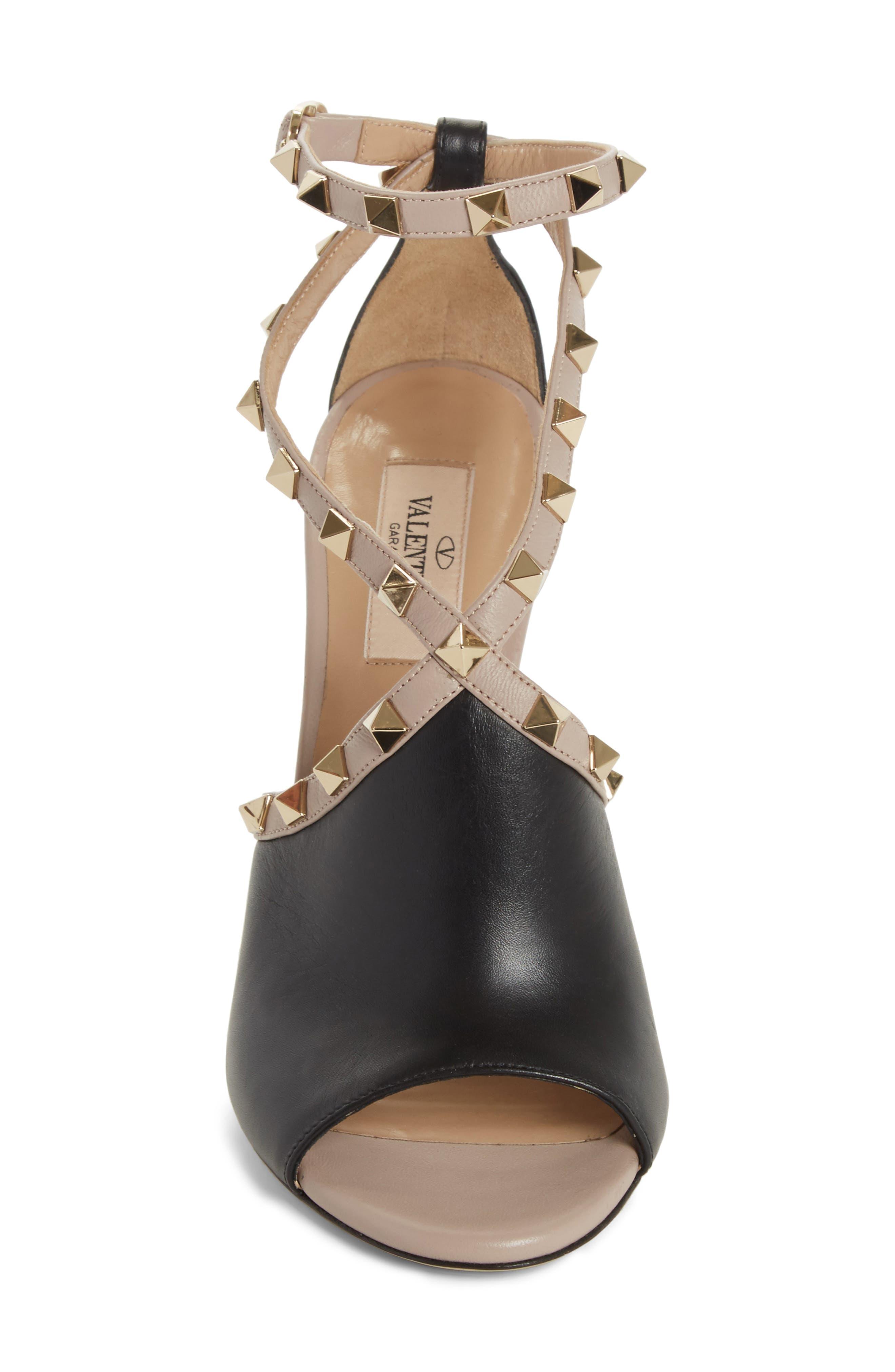Rockstud Peep Toe Sandal,                             Alternate thumbnail 4, color,                             BLACK/ BEIGE
