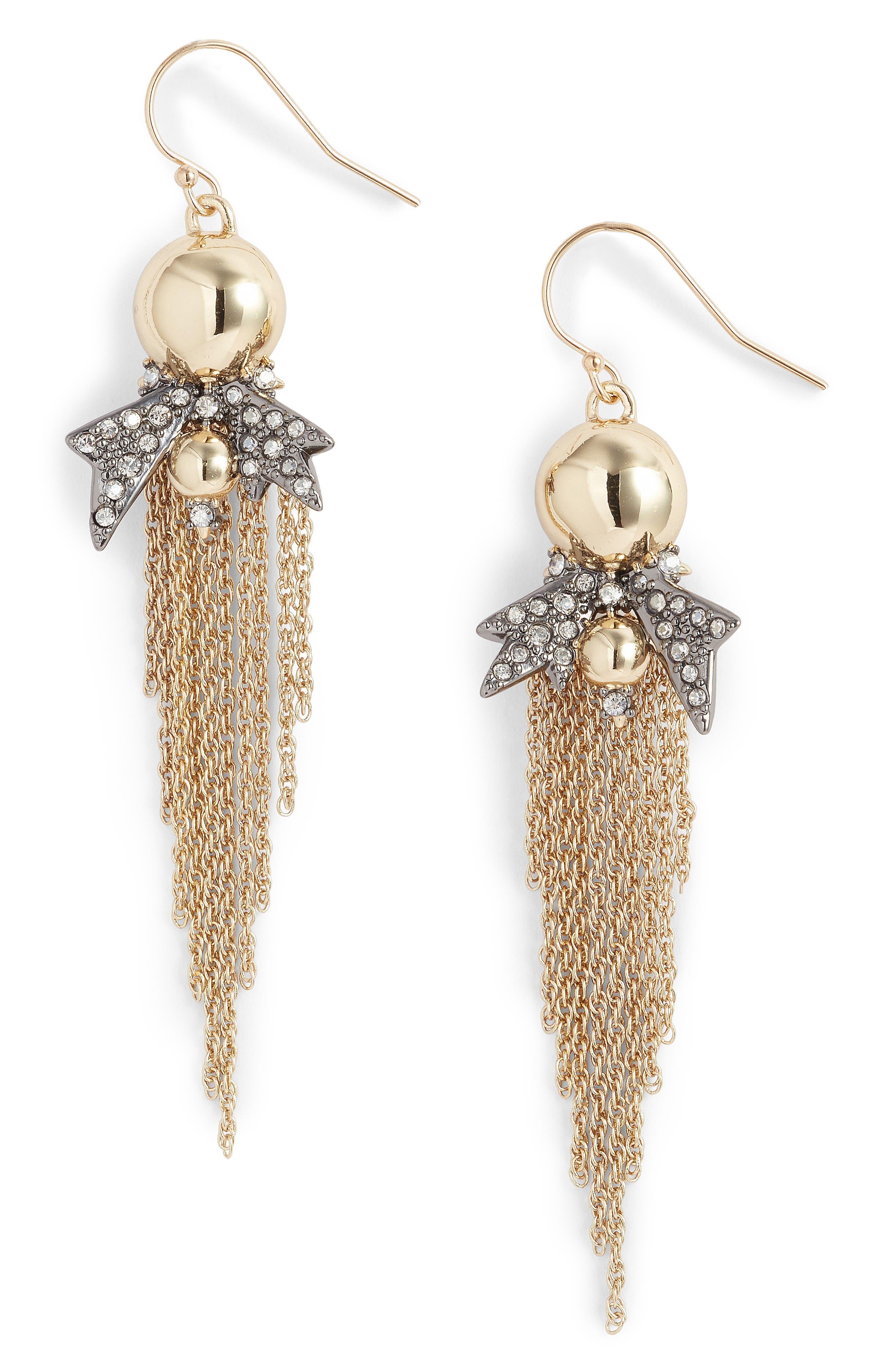 Gold Ball Drop Earrings,                             Main thumbnail 1, color,                             710