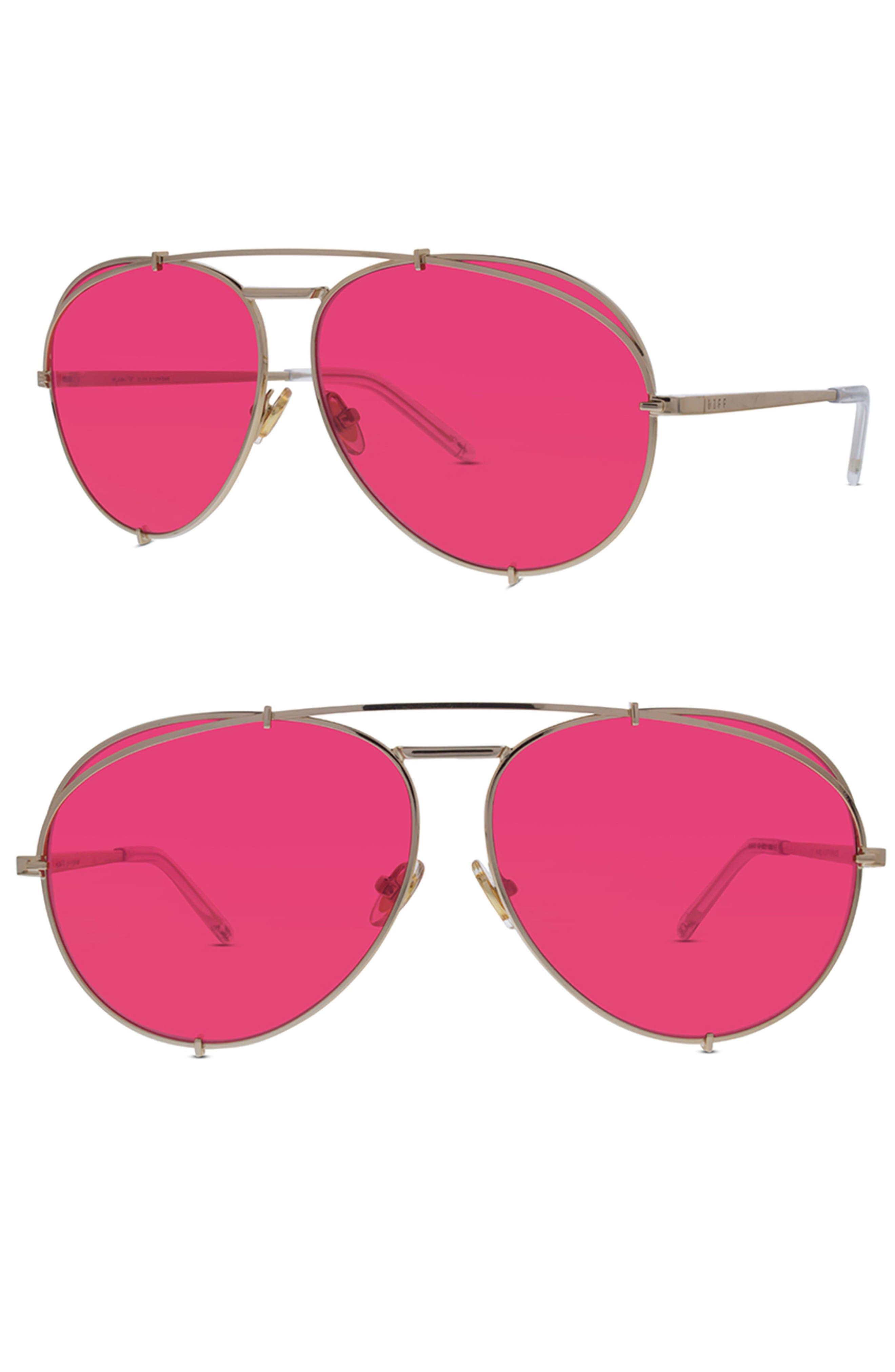 x Khloé Koko 63mm Oversize Aviator Sunglasses,                         Main,                         color,