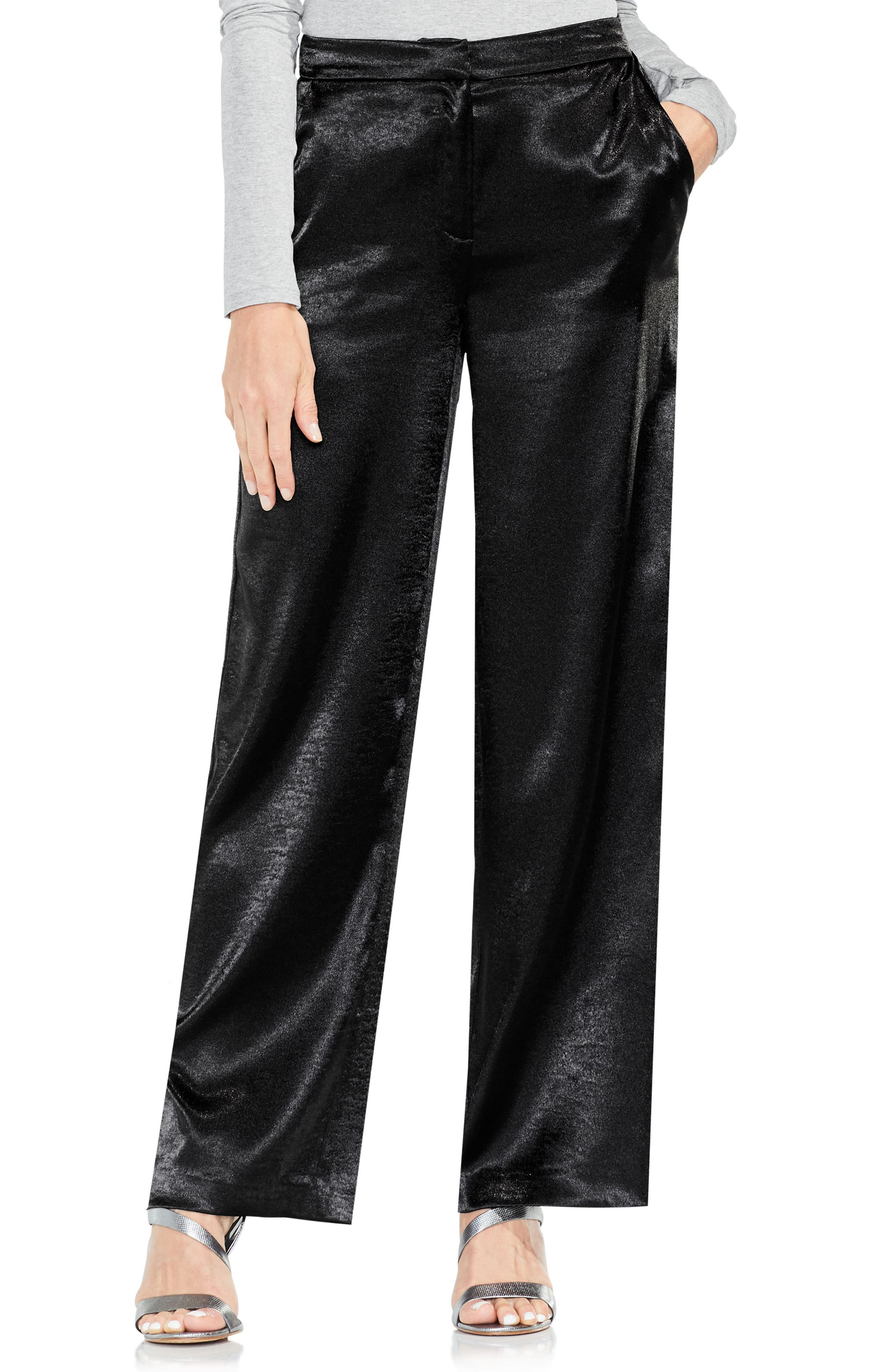 Wide Leg Hammered Satin Pants,                             Main thumbnail 1, color,                             006