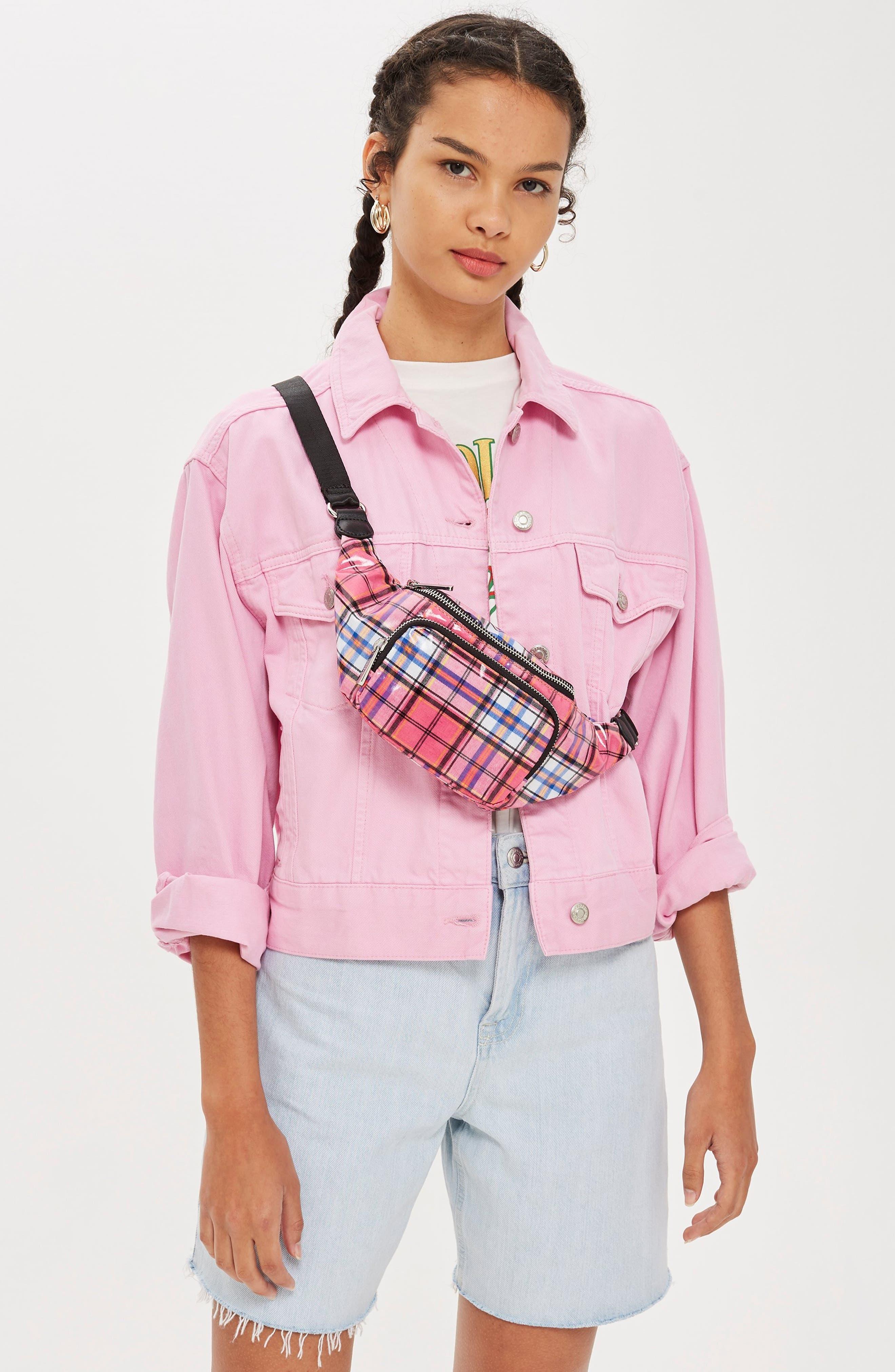 Callie Check Belt Bag,                             Alternate thumbnail 5, color,                             650