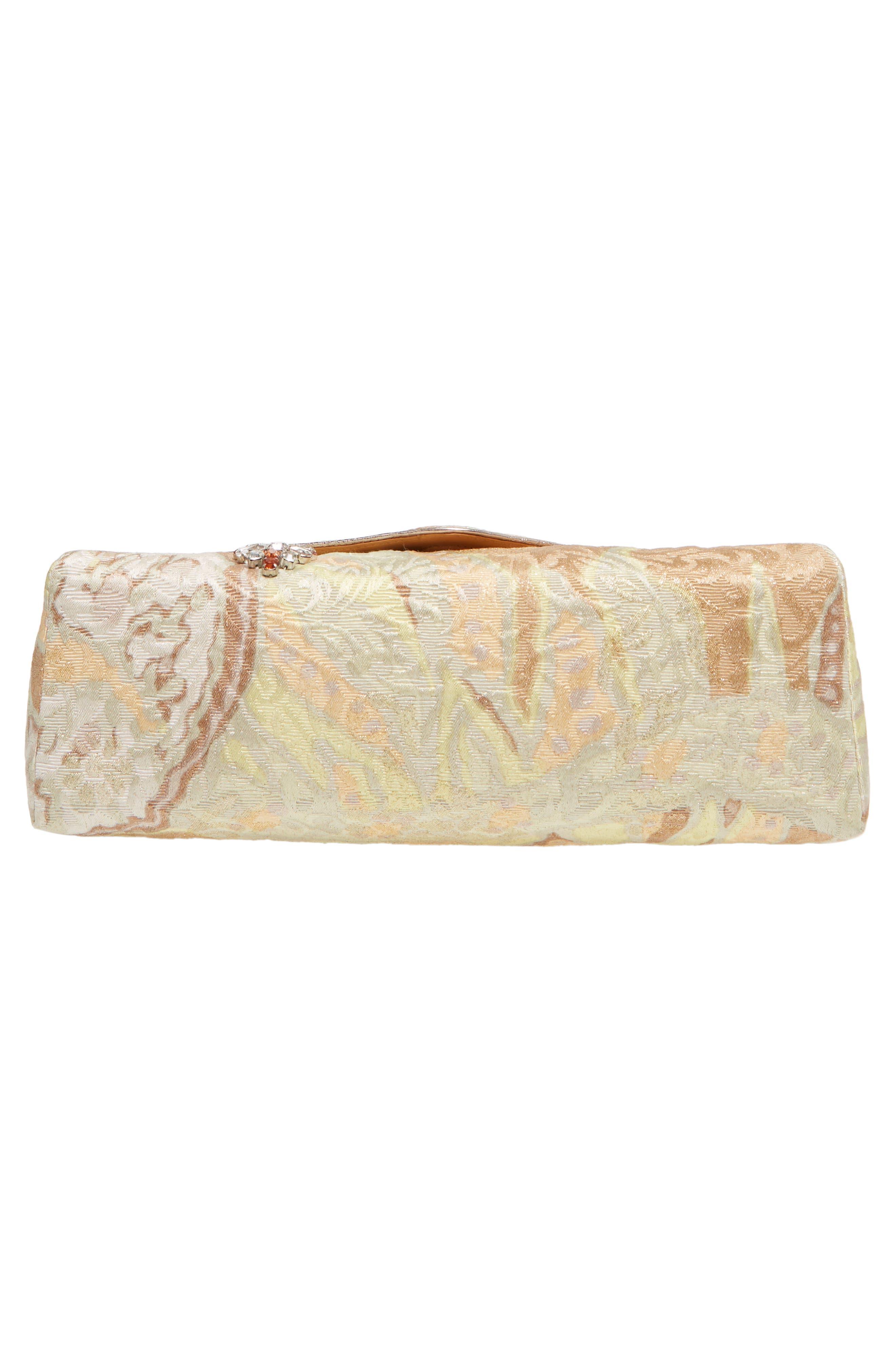Crystal Embellished Brocade Envelope Clutch,                             Alternate thumbnail 6, color,                             NATURAL