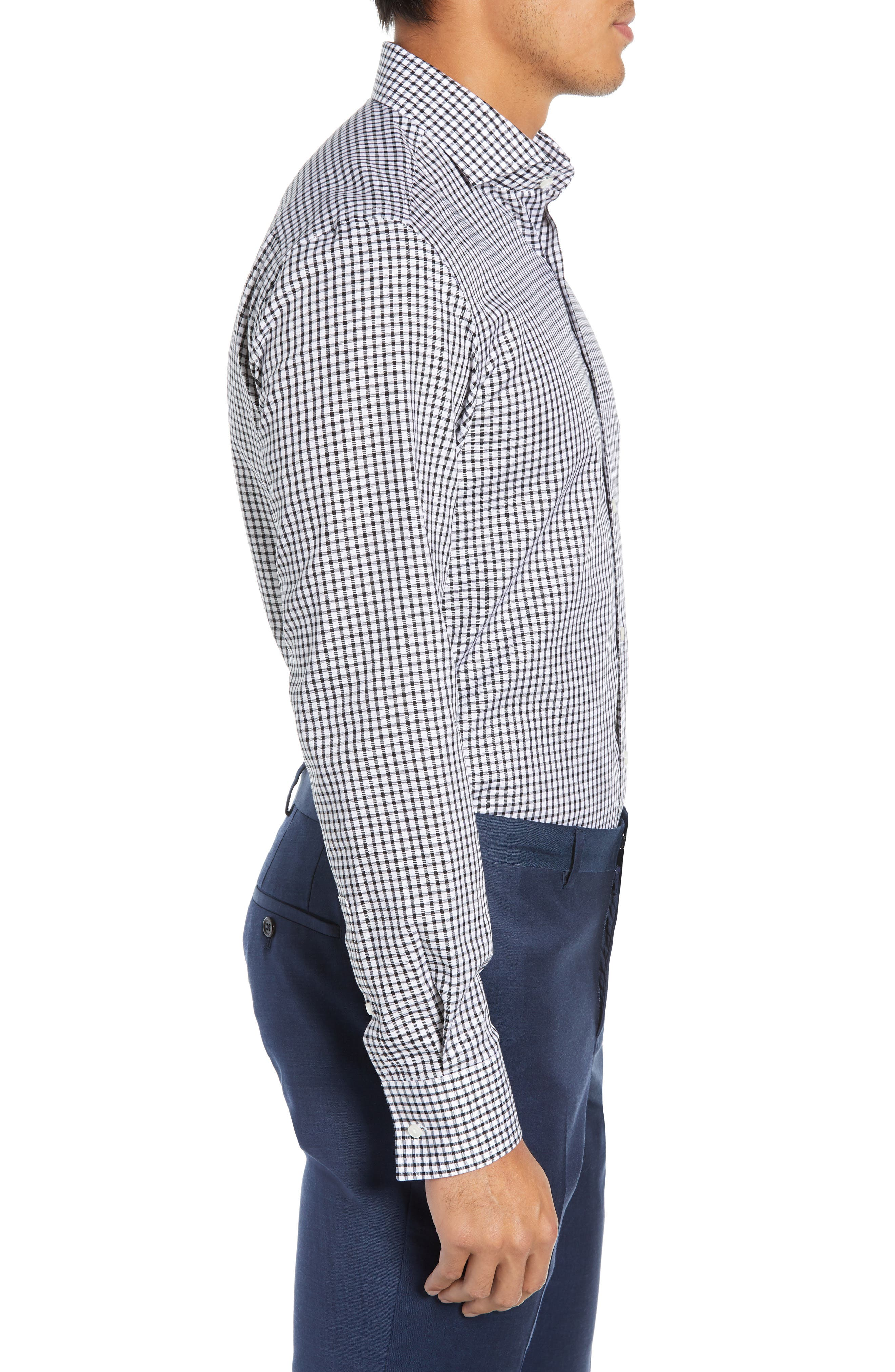 Jason Trim Fit Check Dress Shirt,                             Alternate thumbnail 4, color,                             002