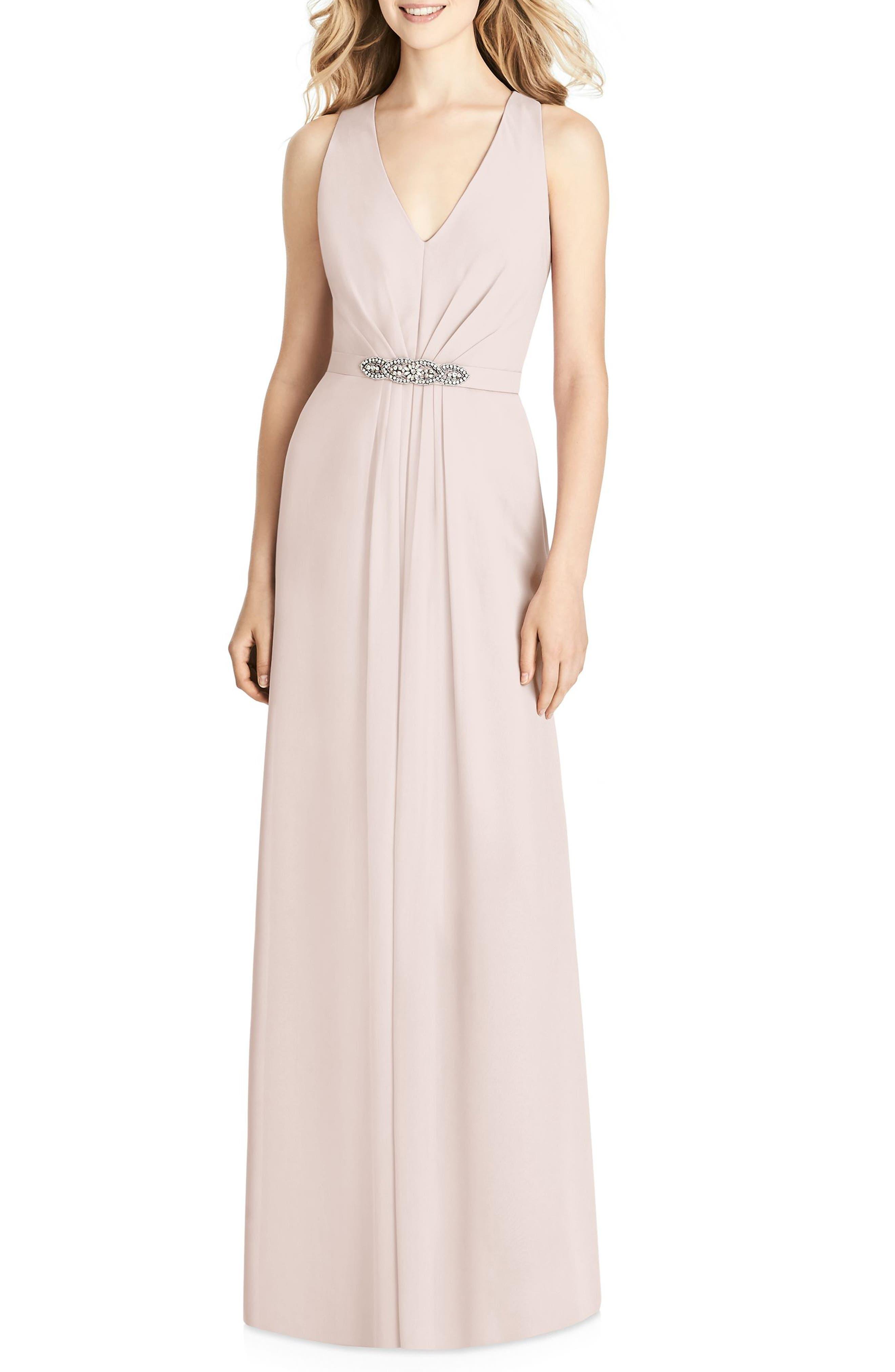 Jenny Packham Jewel Belt Chiffon Gown, Pink